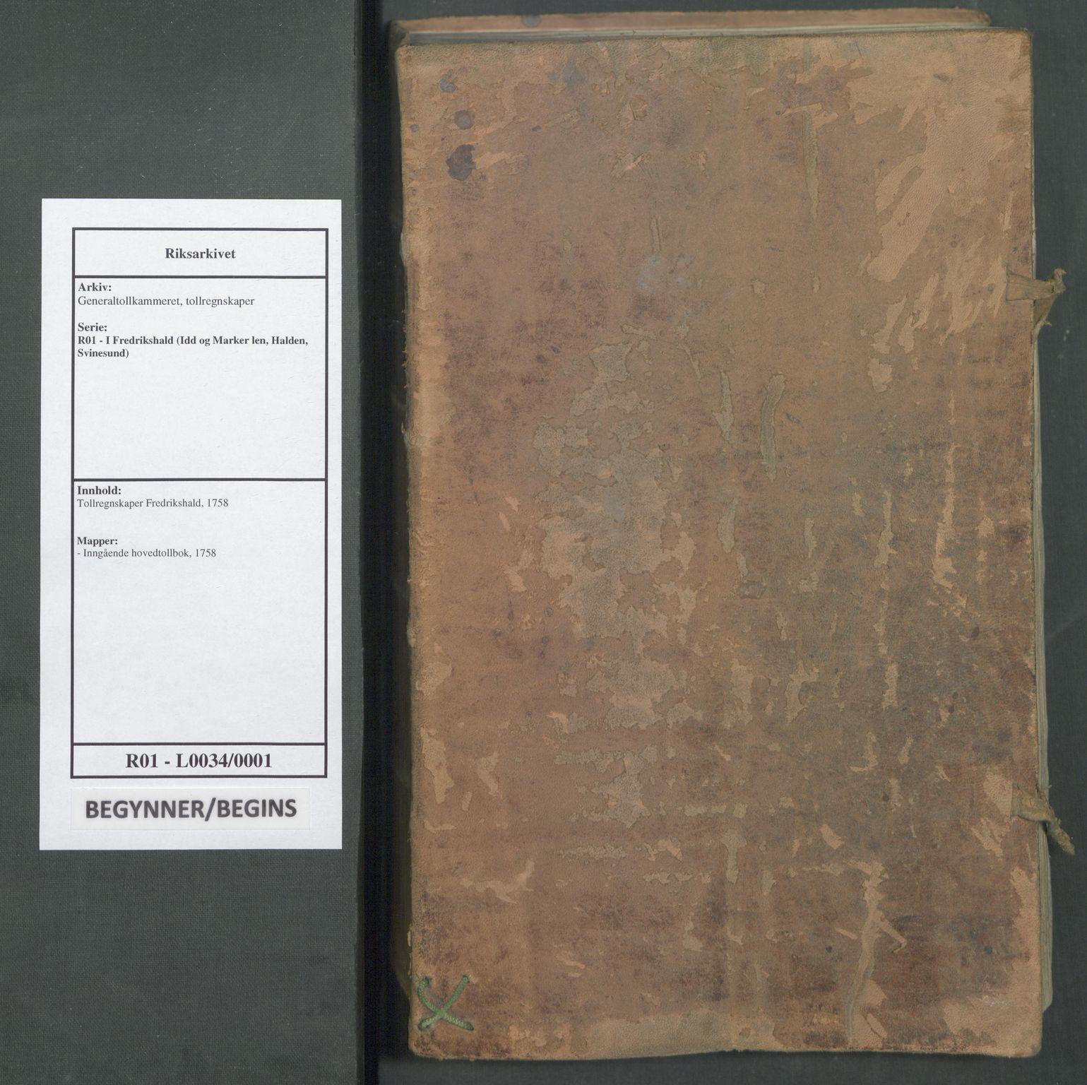 RA, Generaltollkammeret, tollregnskaper, R01/L0034: Tollregnskaper Fredrikshald, 1758