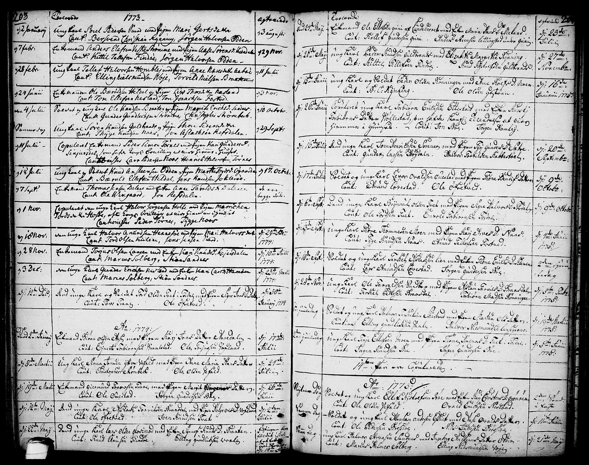 SAKO, Drangedal kirkebøker, F/Fa/L0003: Ministerialbok nr. 3, 1768-1814, s. 203-204