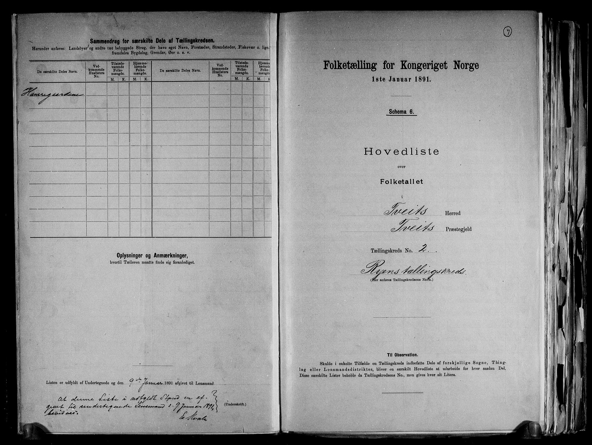 RA, Folketelling 1891 for 1013 Tveit herred, 1891, s. 7