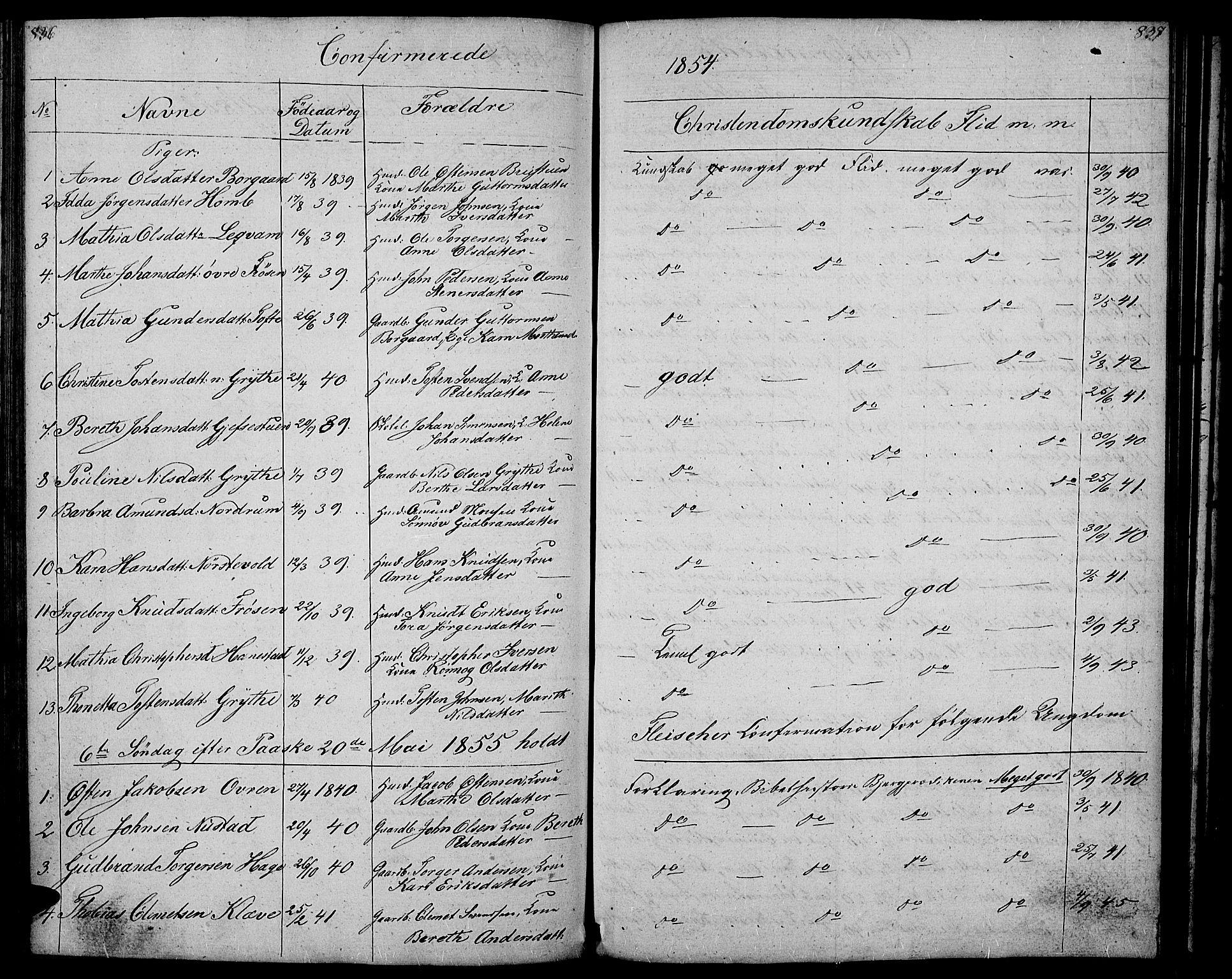 SAH, Gausdal prestekontor, Klokkerbok nr. 4, 1835-1870, s. 836-837