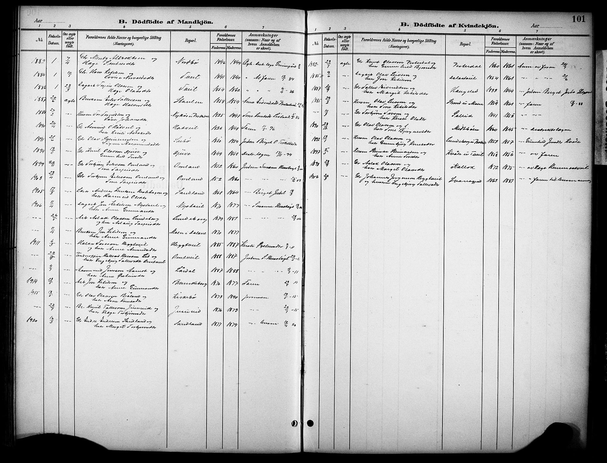 SAKO, Kviteseid kirkebøker, G/Gb/L0003: Klokkerbok nr. II 3, 1893-1933, s. 101