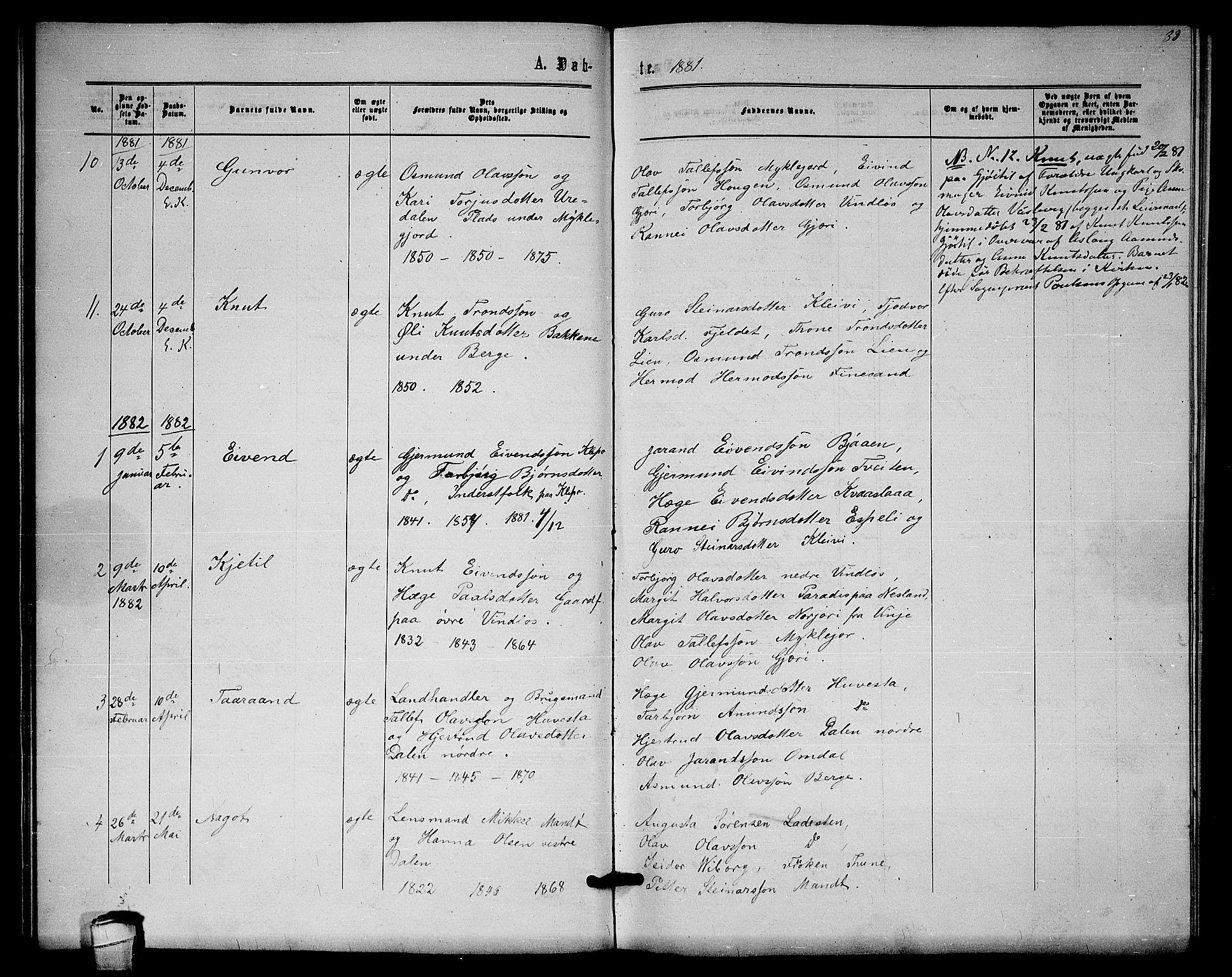 SAKO, Lårdal kirkebøker, G/Gb/L0002: Klokkerbok nr. II 2, 1865-1888, s. 32