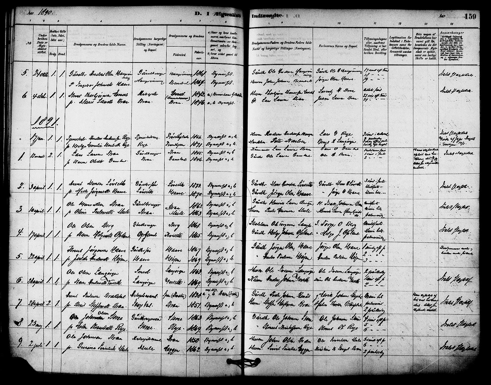 SAT, Ministerialprotokoller, klokkerbøker og fødselsregistre - Sør-Trøndelag, 612/L0378: Ministerialbok nr. 612A10, 1878-1897, s. 159