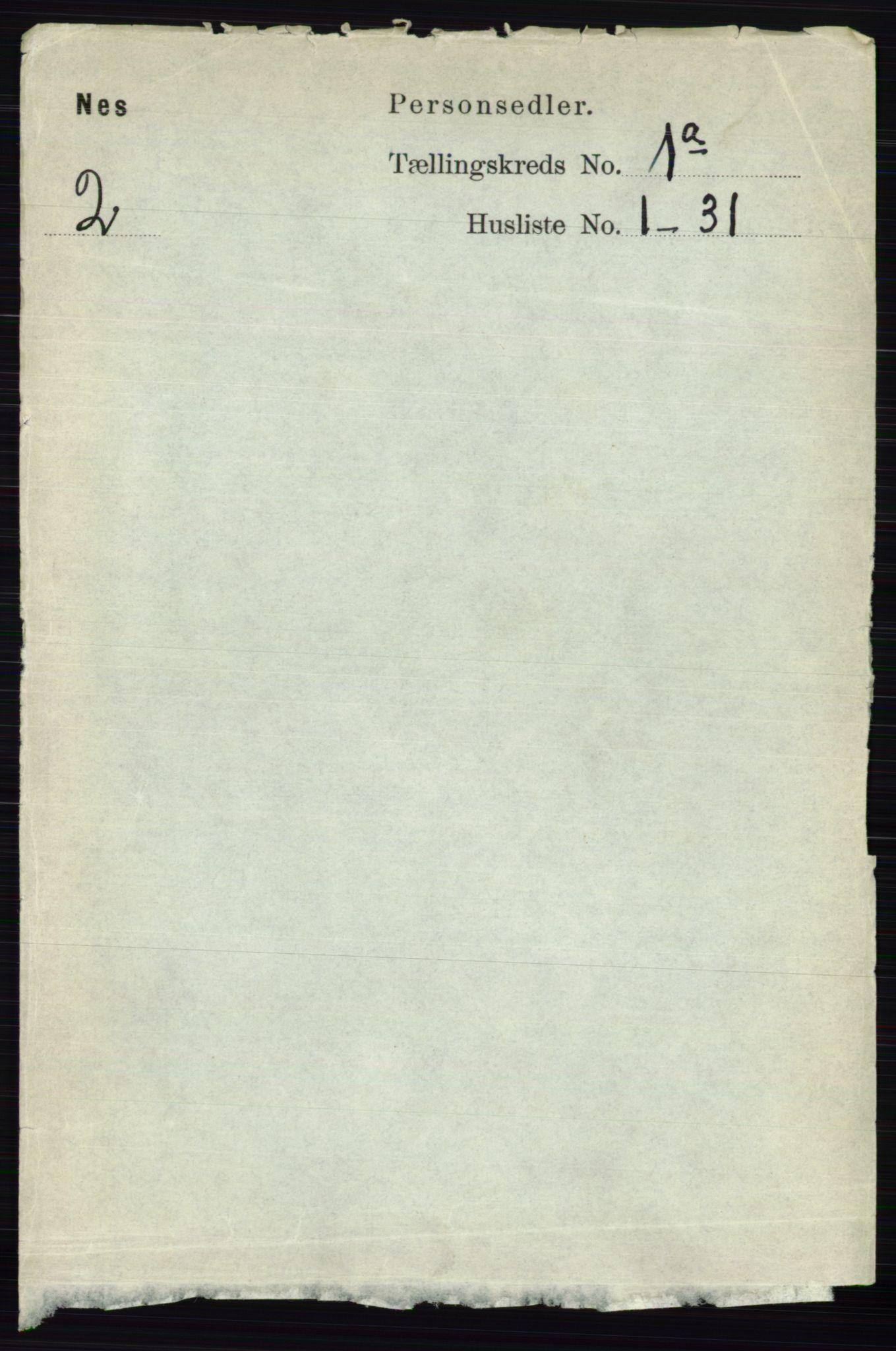 RA, Folketelling 1891 for 0236 Nes herred, 1891, s. 127