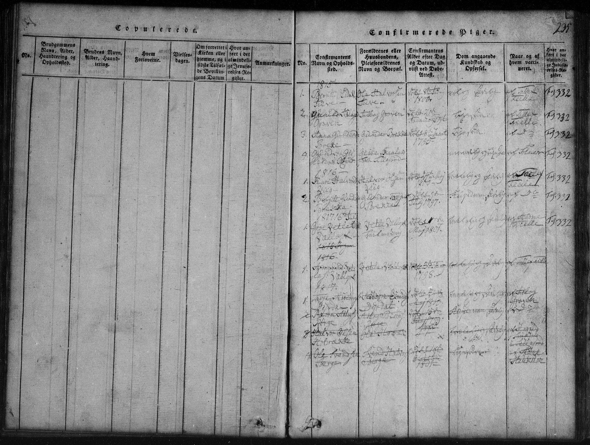 SAKO, Rauland kirkebøker, G/Gb/L0001: Klokkerbok nr. II 1, 1815-1886, s. 235