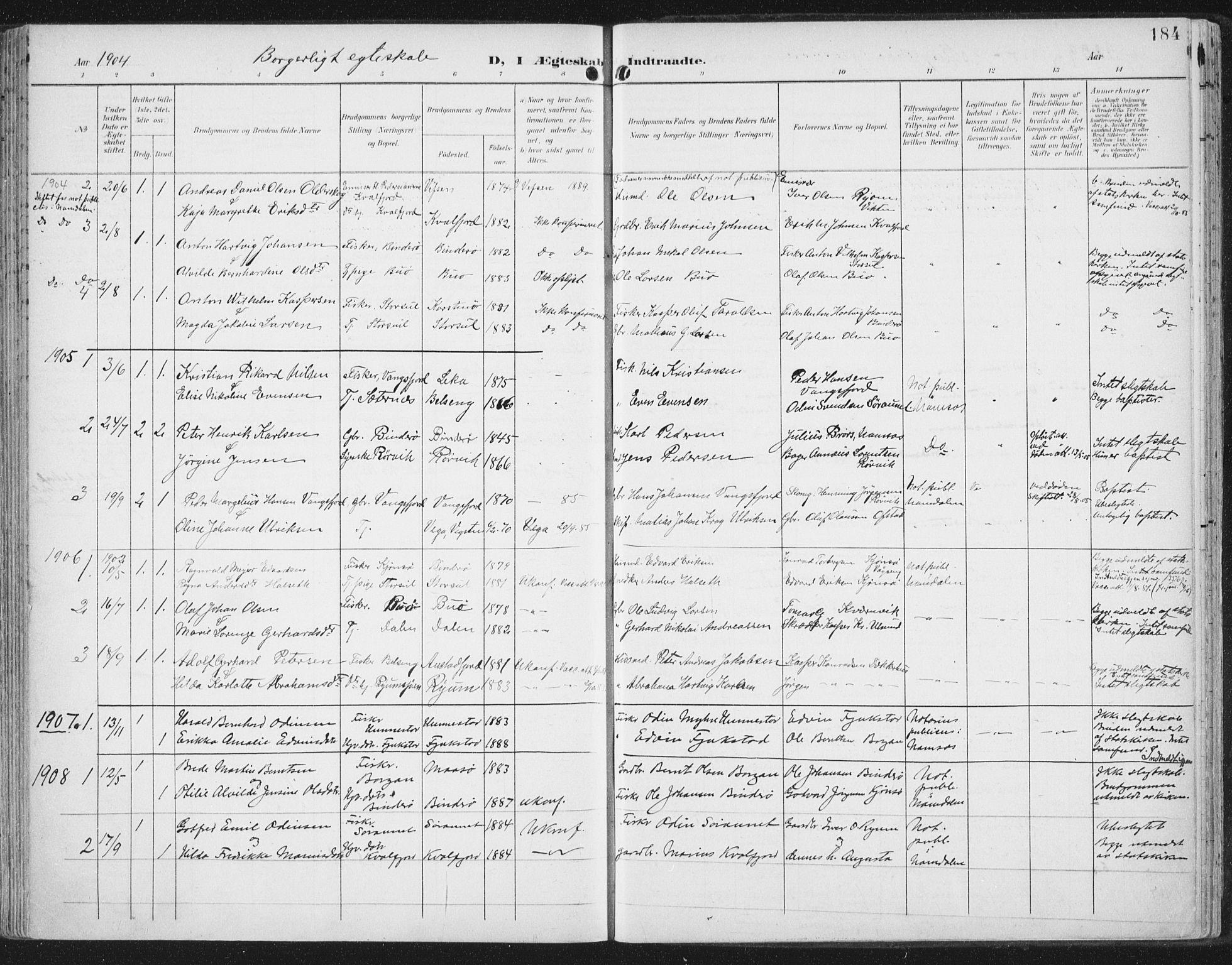 SAT, Ministerialprotokoller, klokkerbøker og fødselsregistre - Nord-Trøndelag, 786/L0688: Ministerialbok nr. 786A04, 1899-1912, s. 184