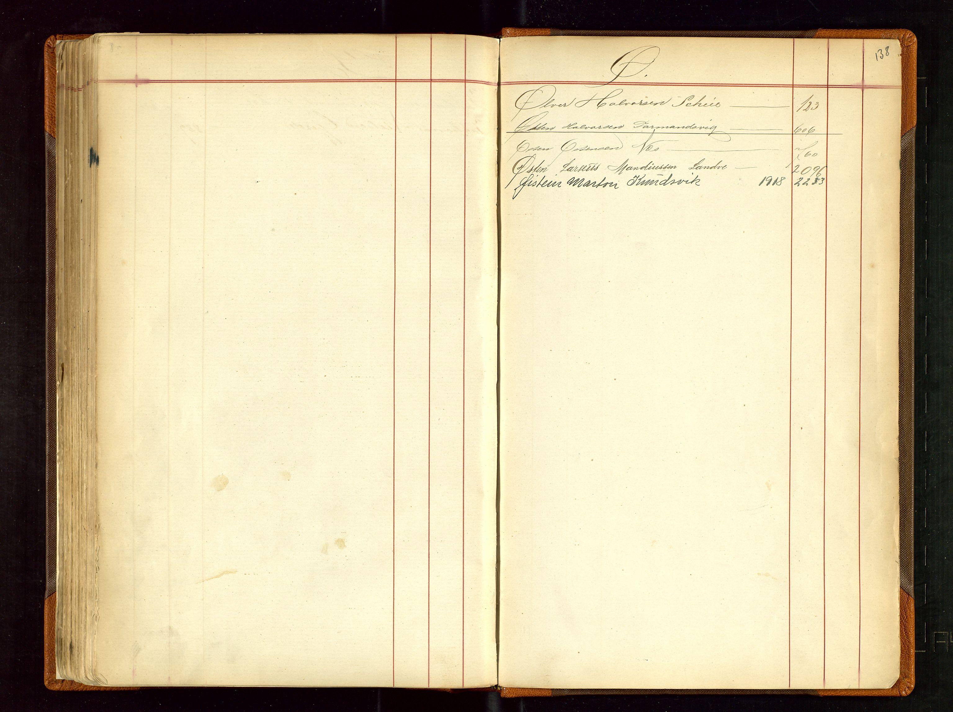 SAST, Haugesund sjømannskontor, F/Fb/Fba/L0001: Navneregister med henvisning til rullenr (Fornavn) Skudenes krets, 1860-1948, s. 138