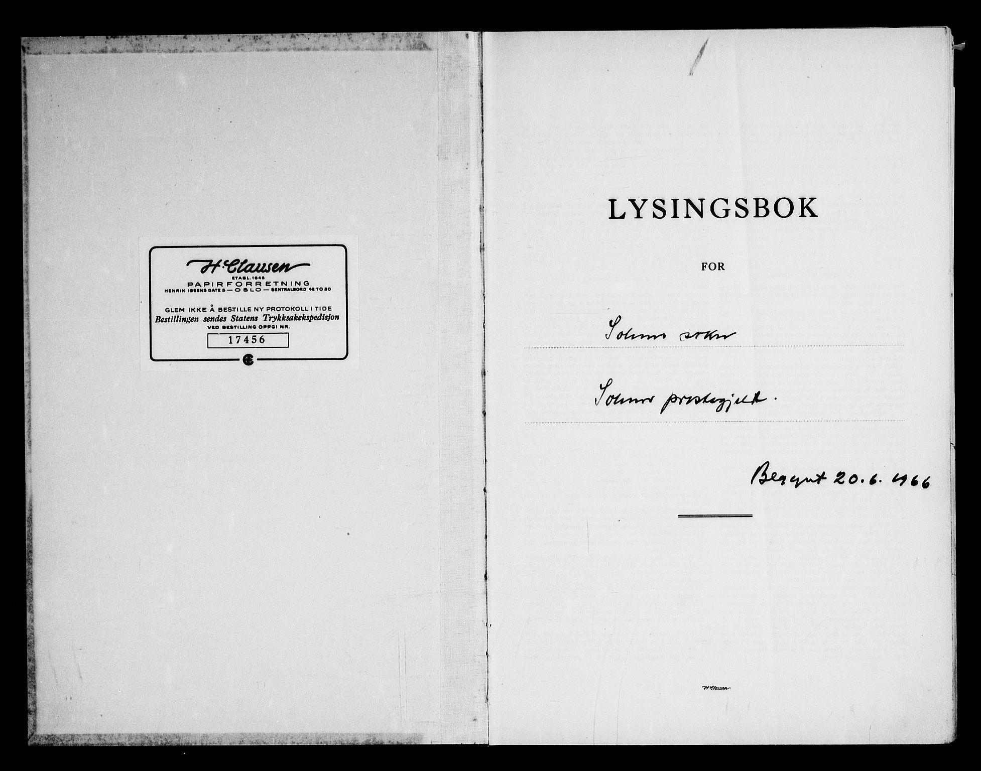 SAKO, Solum kirkebøker, H/Ha/L0004: Lysningsprotokoll nr. I 4, 1966-1974