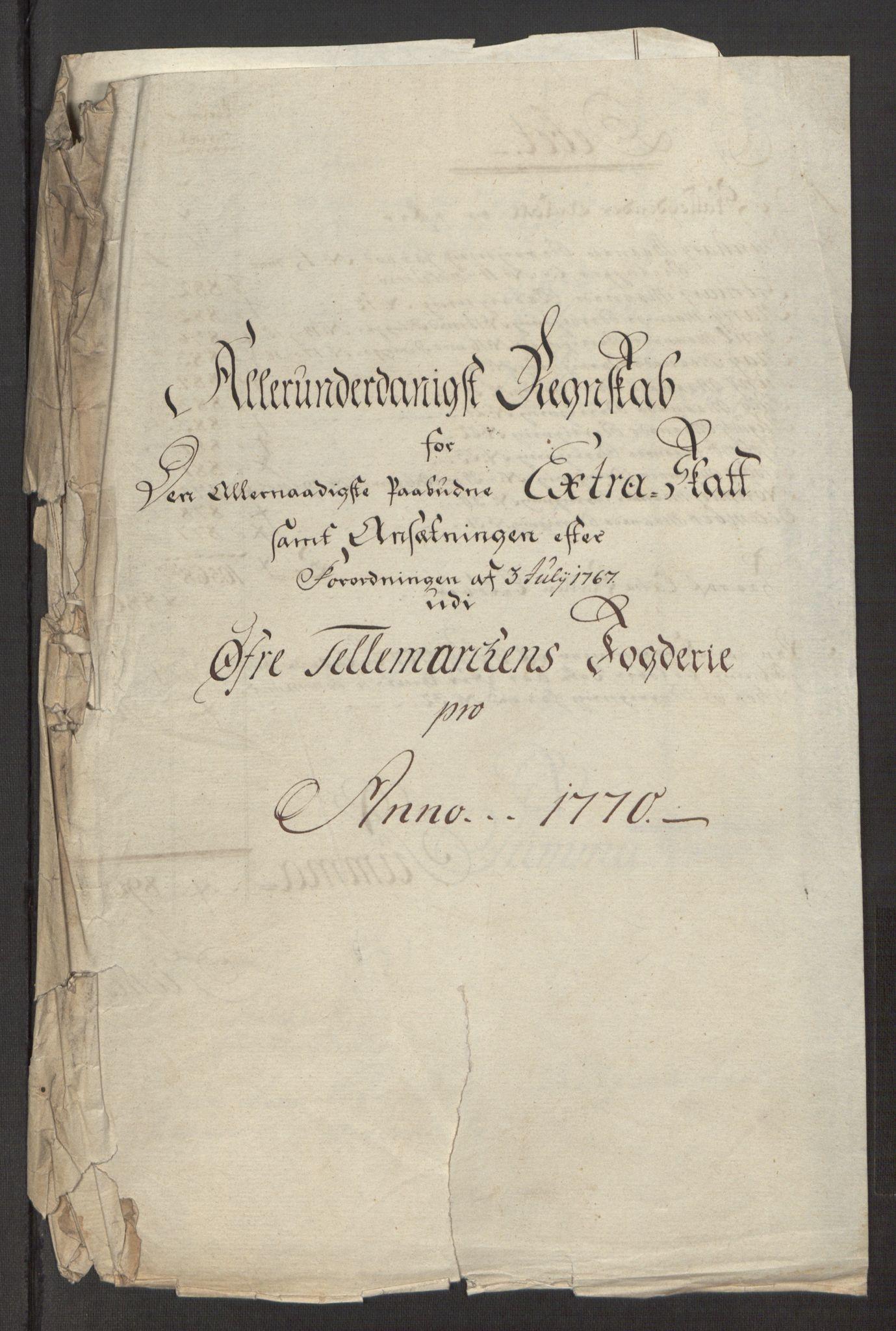 RA, Rentekammeret inntil 1814, Reviderte regnskaper, Fogderegnskap, R38/L2293: Ekstraskatten Øvre Telemark, 1762-1770, s. 418