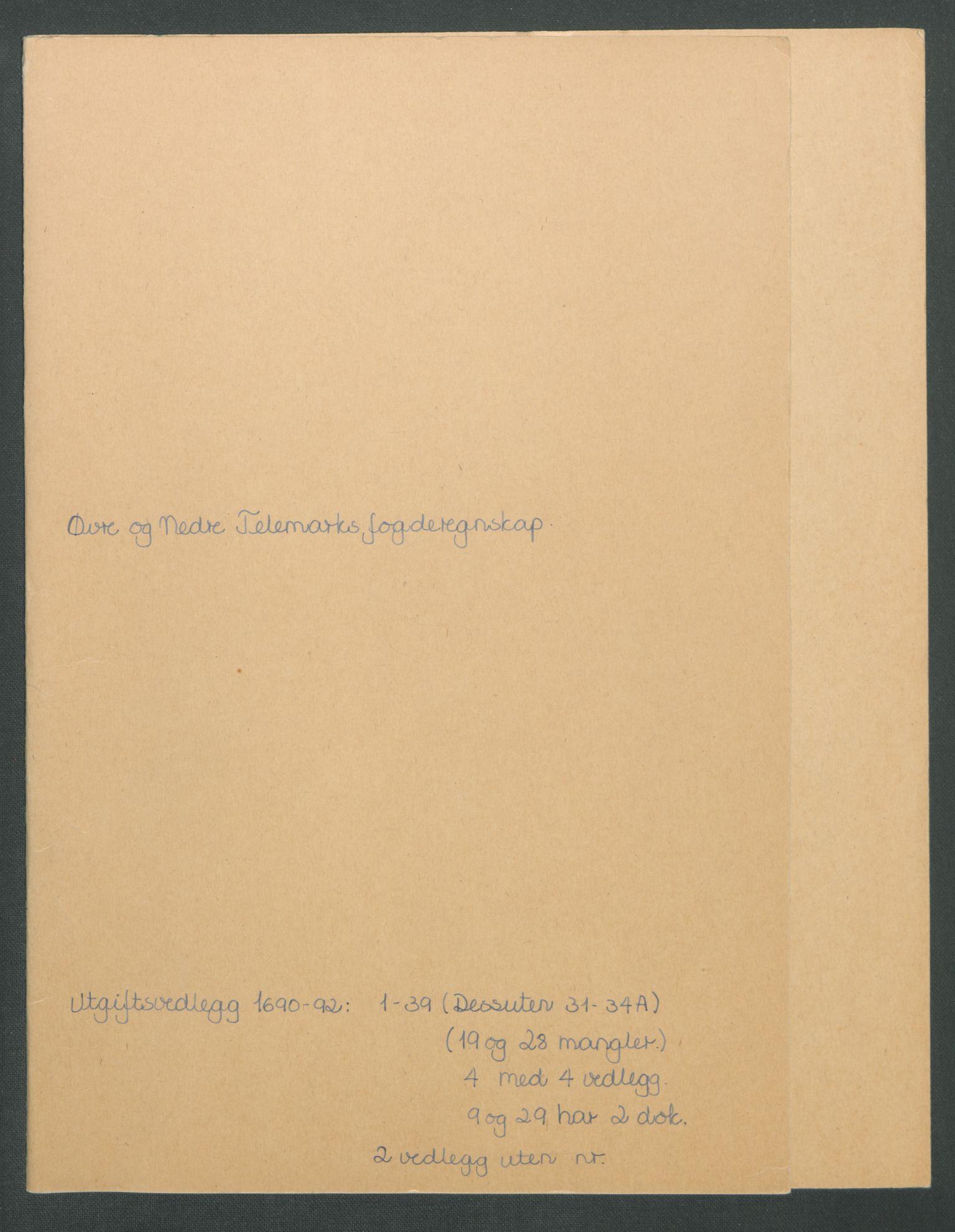 RA, Rentekammeret inntil 1814, Reviderte regnskaper, Fogderegnskap, R35/L2091: Fogderegnskap Øvre og Nedre Telemark, 1690-1693, s. 2