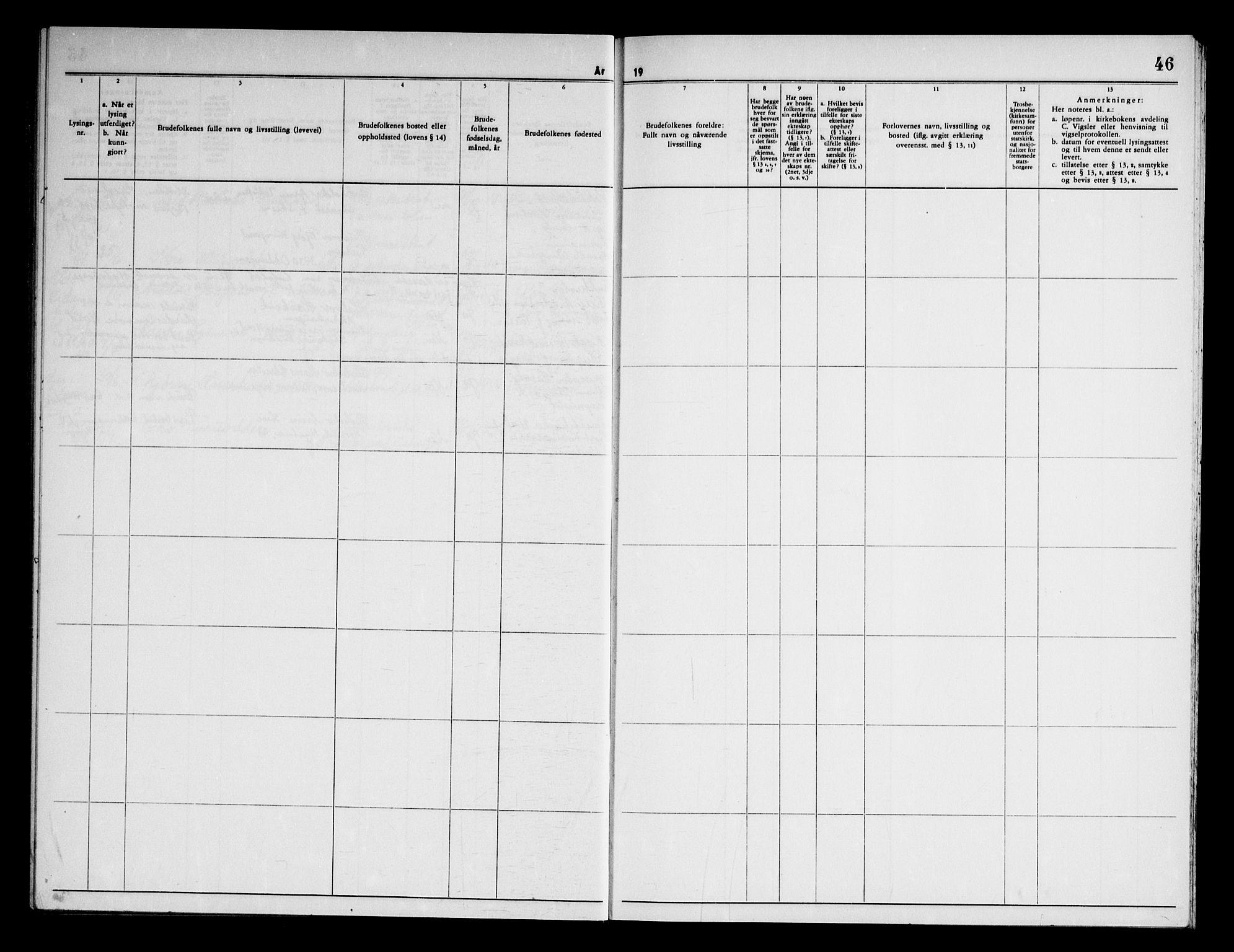 SAKO, Eidanger kirkebøker, H/Ha/L0005: Lysningsprotokoll nr. 5, 1964-1969, s. 46