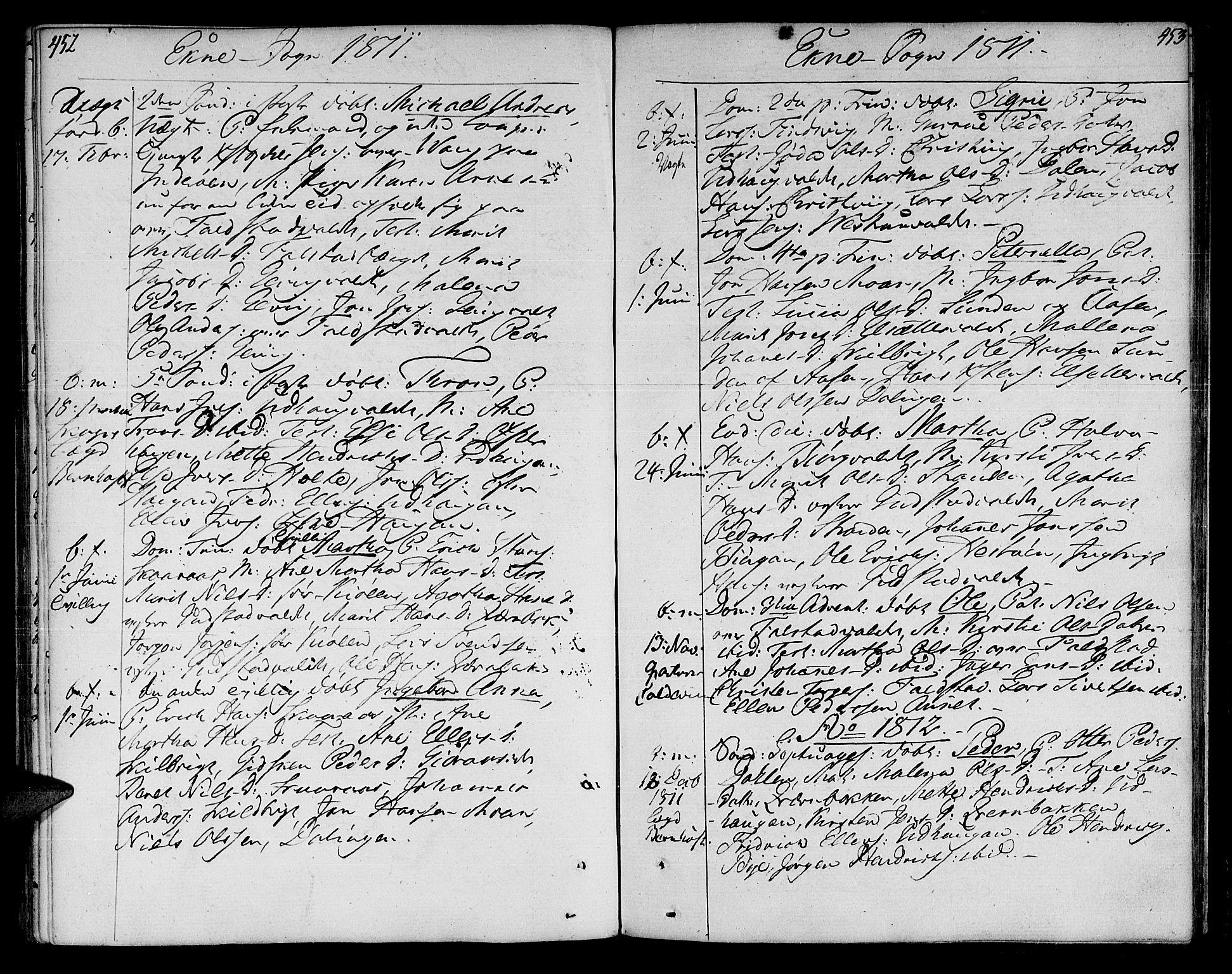 SAT, Ministerialprotokoller, klokkerbøker og fødselsregistre - Nord-Trøndelag, 717/L0145: Ministerialbok nr. 717A03 /2, 1810-1815, s. 452-453