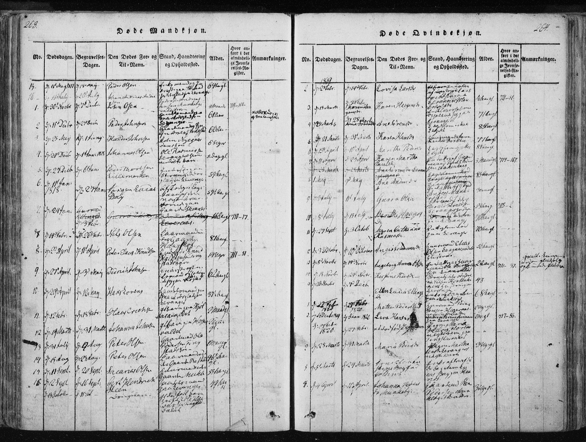 SAT, Ministerialprotokoller, klokkerbøker og fødselsregistre - Nord-Trøndelag, 717/L0148: Ministerialbok nr. 717A04 /2, 1816-1825, s. 263-264