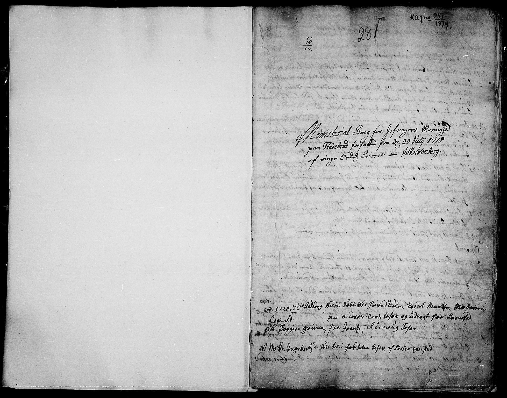 SAH, Jevnaker prestekontor, Ministerialbok nr. 1, 1718-1725