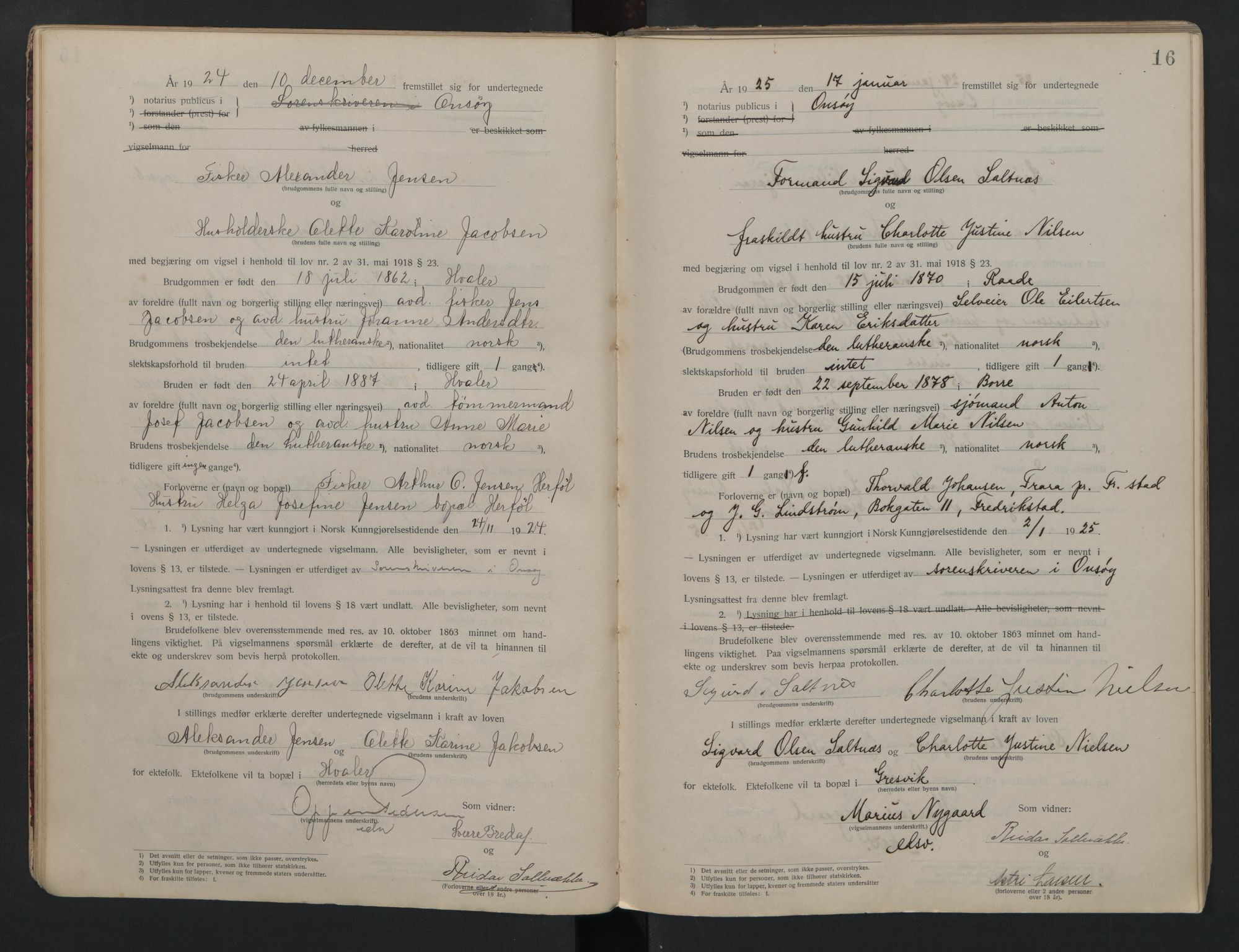 SAO, Onsøy sorenskriveri, L/La/L0001: Vigselsbok, 1920-1942, s. 16