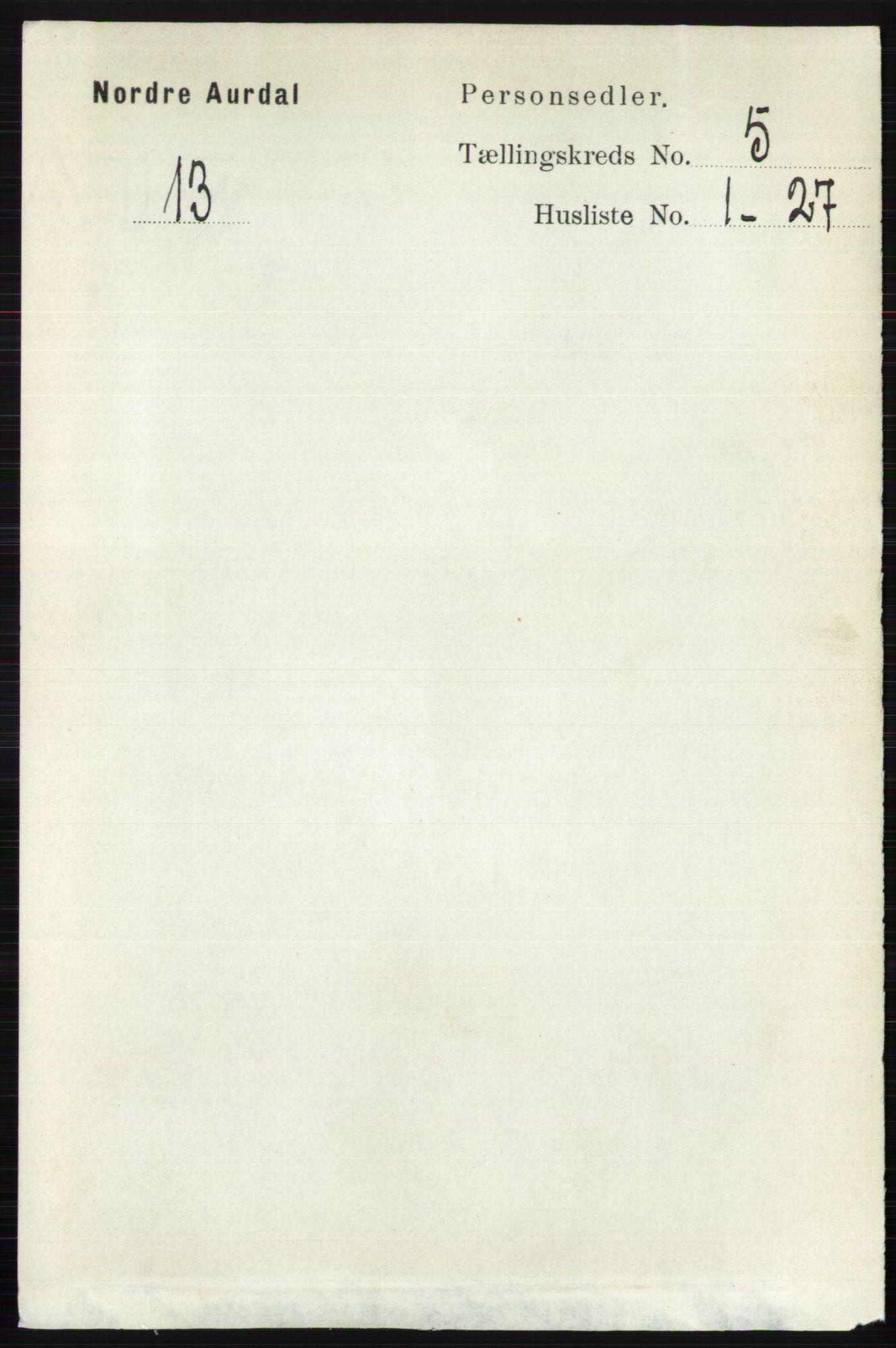 RA, Folketelling 1891 for 0542 Nord-Aurdal herred, 1891, s. 1350