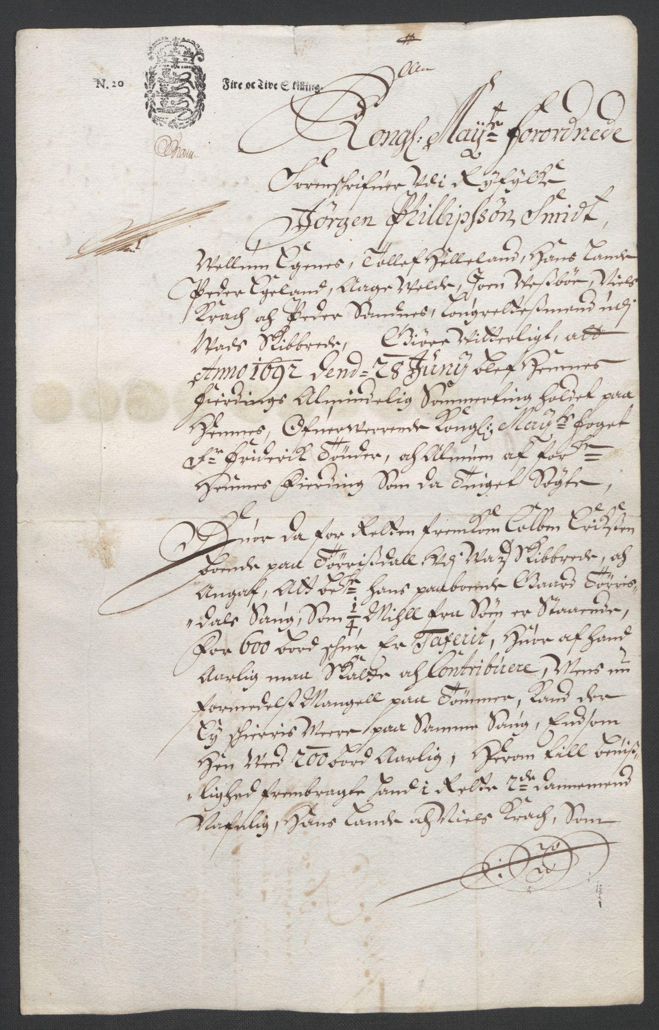 RA, Rentekammeret inntil 1814, Reviderte regnskaper, Fogderegnskap, R47/L2856: Fogderegnskap Ryfylke, 1689-1693, s. 545