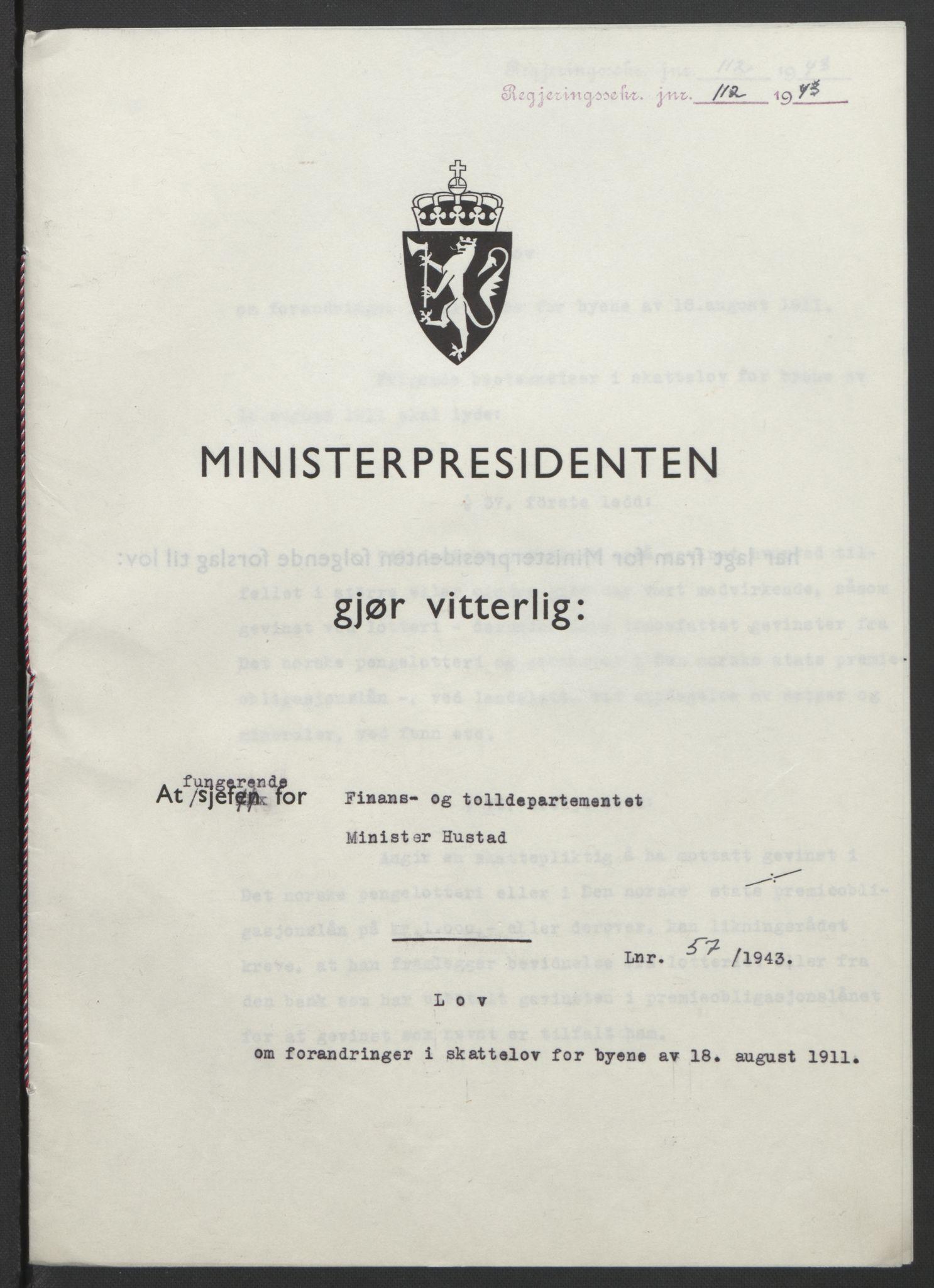 RA, NS-administrasjonen 1940-1945 (Statsrådsekretariatet, de kommisariske statsråder mm), D/Db/L0099: Lover, 1943, s. 255