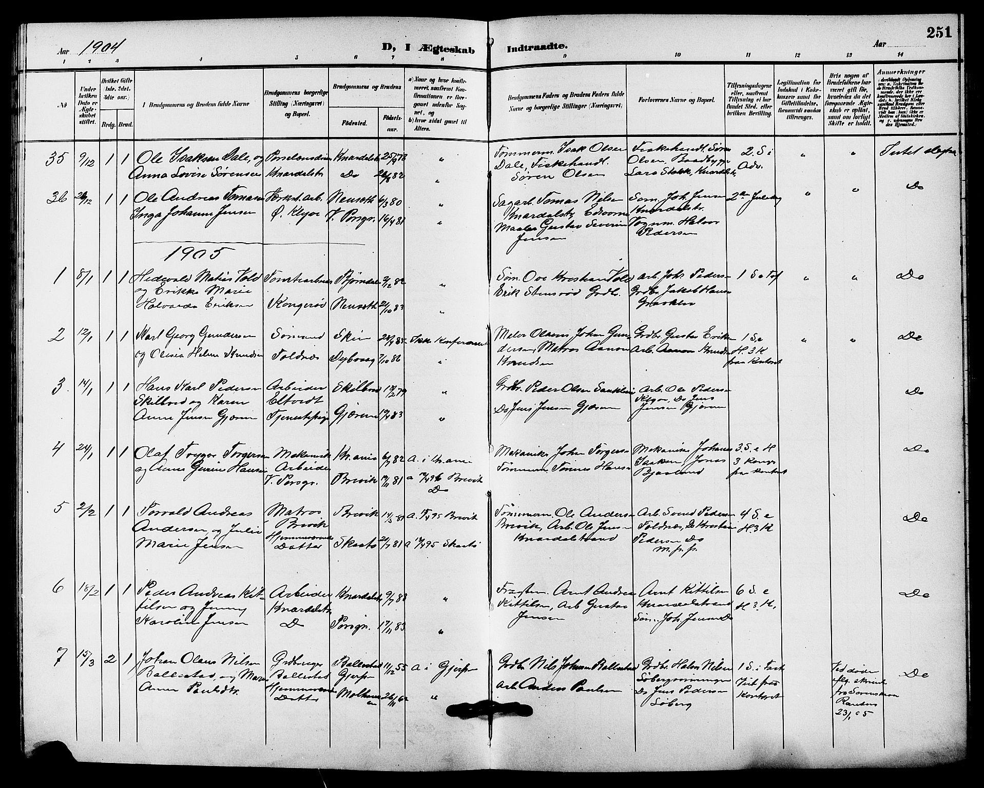 SAKO, Solum kirkebøker, G/Ga/L0008: Klokkerbok nr. I 8, 1898-1909, s. 251