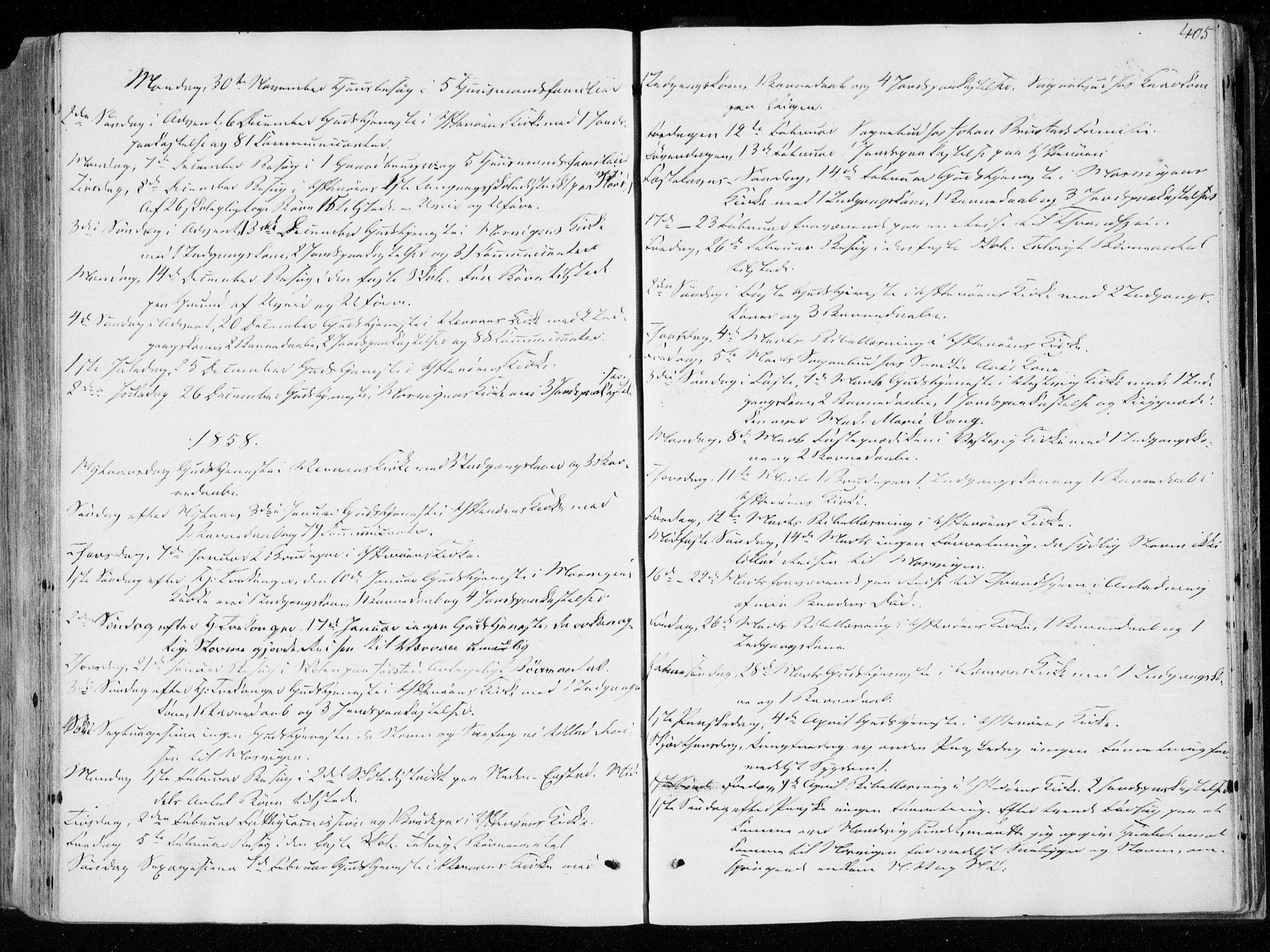 SAT, Ministerialprotokoller, klokkerbøker og fødselsregistre - Nord-Trøndelag, 722/L0218: Ministerialbok nr. 722A05, 1843-1868, s. 405