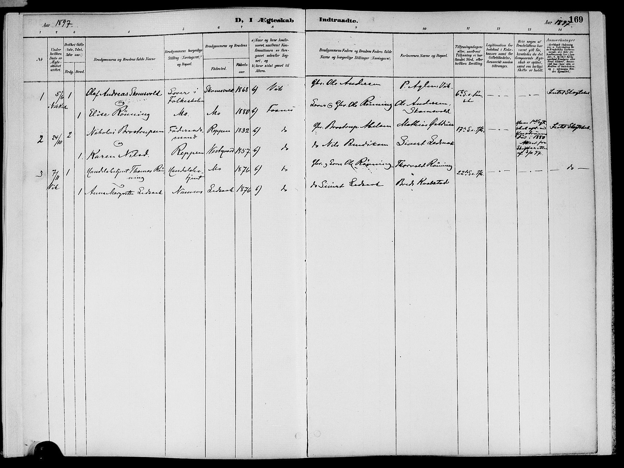 SAT, Ministerialprotokoller, klokkerbøker og fødselsregistre - Nord-Trøndelag, 773/L0617: Ministerialbok nr. 773A08, 1887-1910, s. 169