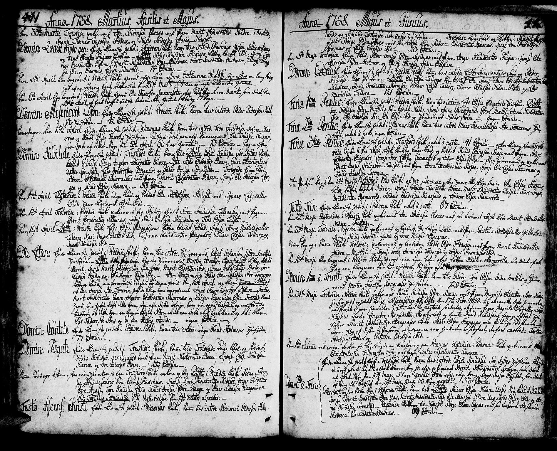 SAT, Ministerialprotokoller, klokkerbøker og fødselsregistre - Møre og Romsdal, 547/L0599: Ministerialbok nr. 547A01, 1721-1764, s. 441-442