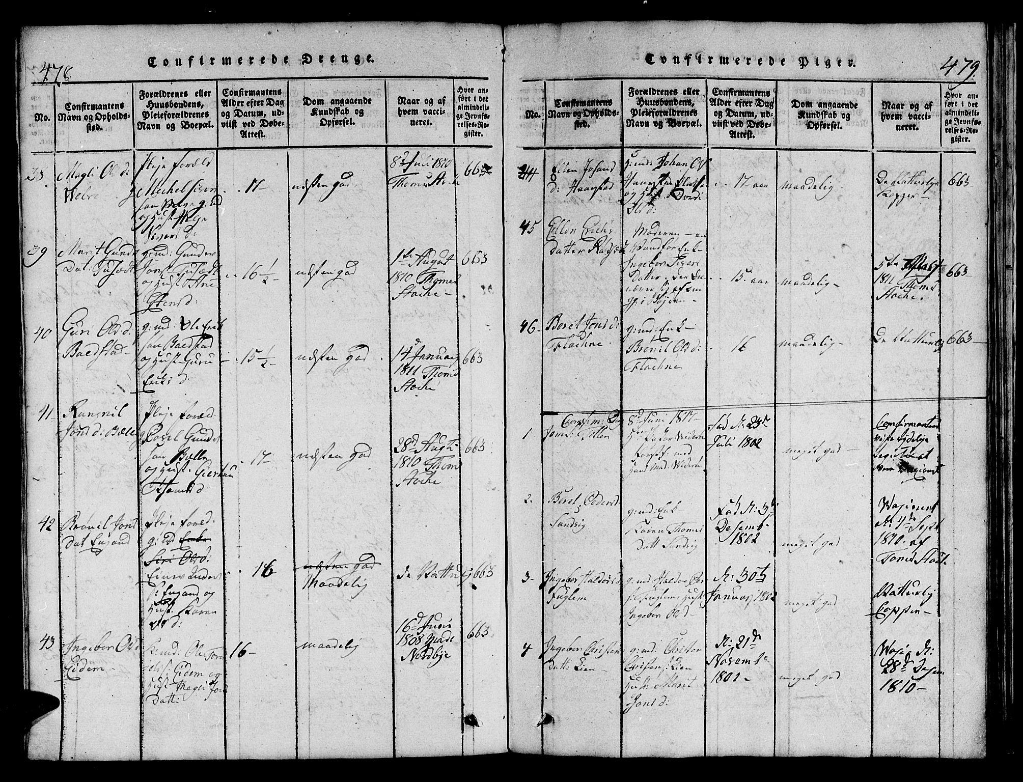 SAT, Ministerialprotokoller, klokkerbøker og fødselsregistre - Sør-Trøndelag, 695/L1152: Klokkerbok nr. 695C03, 1816-1831, s. 478-479