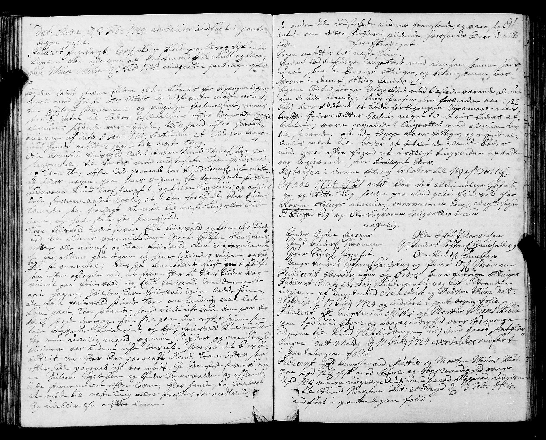 SAT, Romsdal sorenskriveri, 1/1A/L0009: Tingbok, 1722-1728, s. 90b-91a