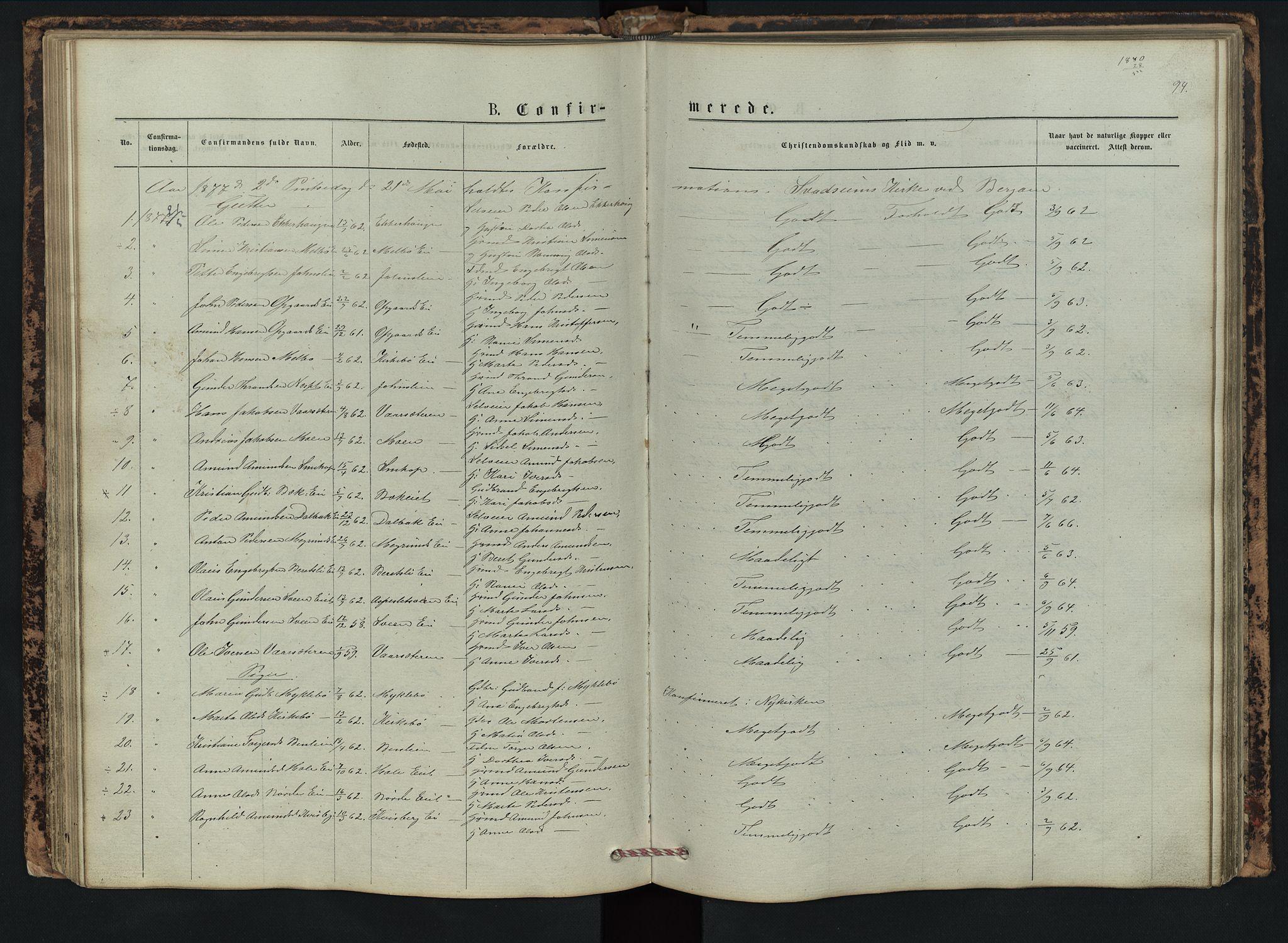 SAH, Vestre Gausdal prestekontor, Klokkerbok nr. 2, 1874-1897, s. 94