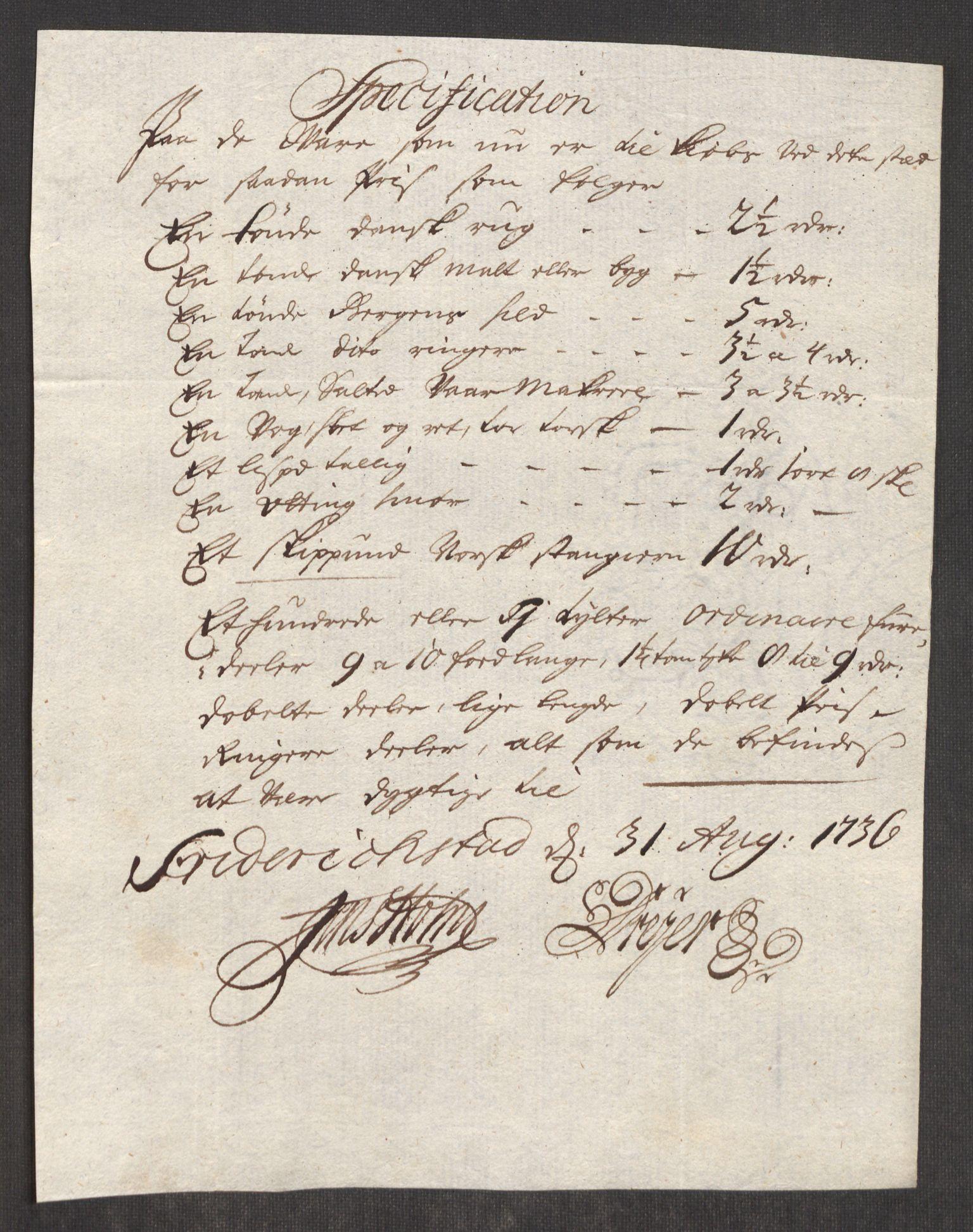 RA, Rentekammeret inntil 1814, Realistisk ordnet avdeling, Oe/L0001: [Ø1]: Priskuranter, 1712-1739, s. 335