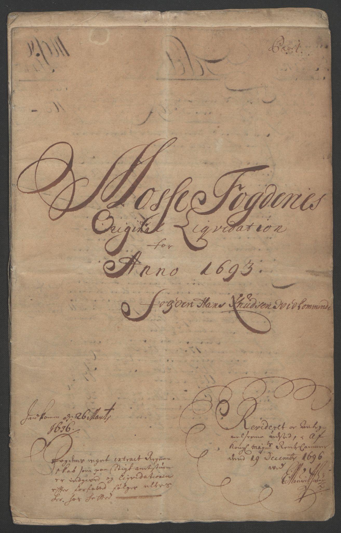 RA, Rentekammeret inntil 1814, Reviderte regnskaper, Fogderegnskap, R02/L0108: Fogderegnskap Moss og Verne kloster, 1692-1693, s. 203
