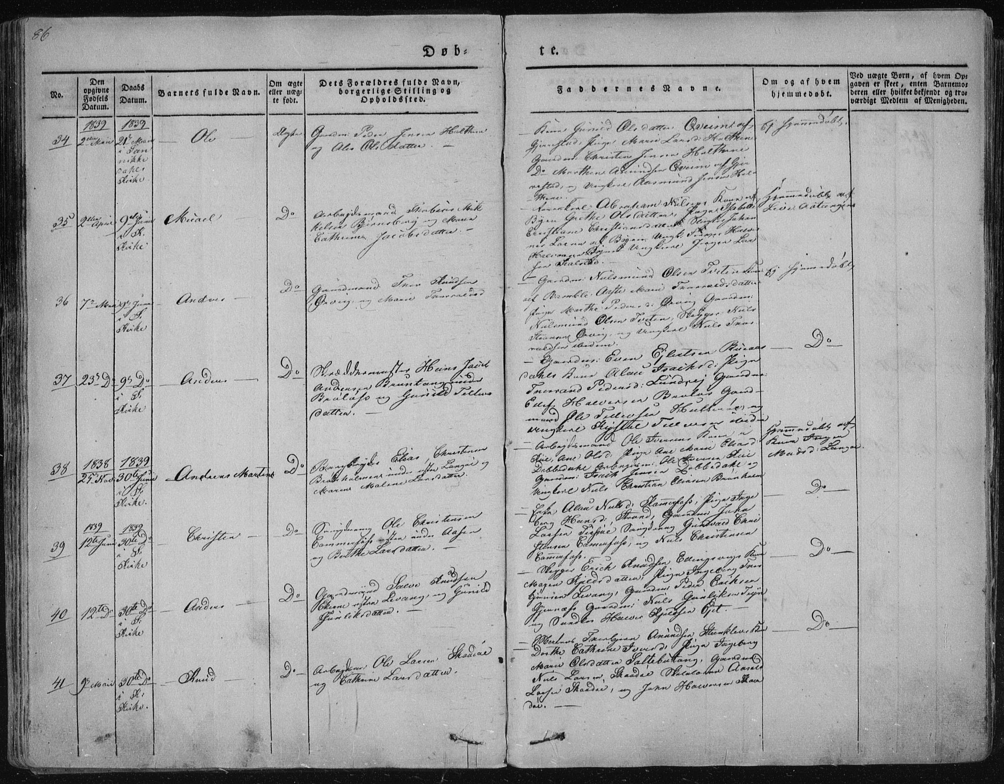 SAKO, Sannidal kirkebøker, F/Fa/L0006: Ministerialbok nr. 6, 1831-1847, s. 86