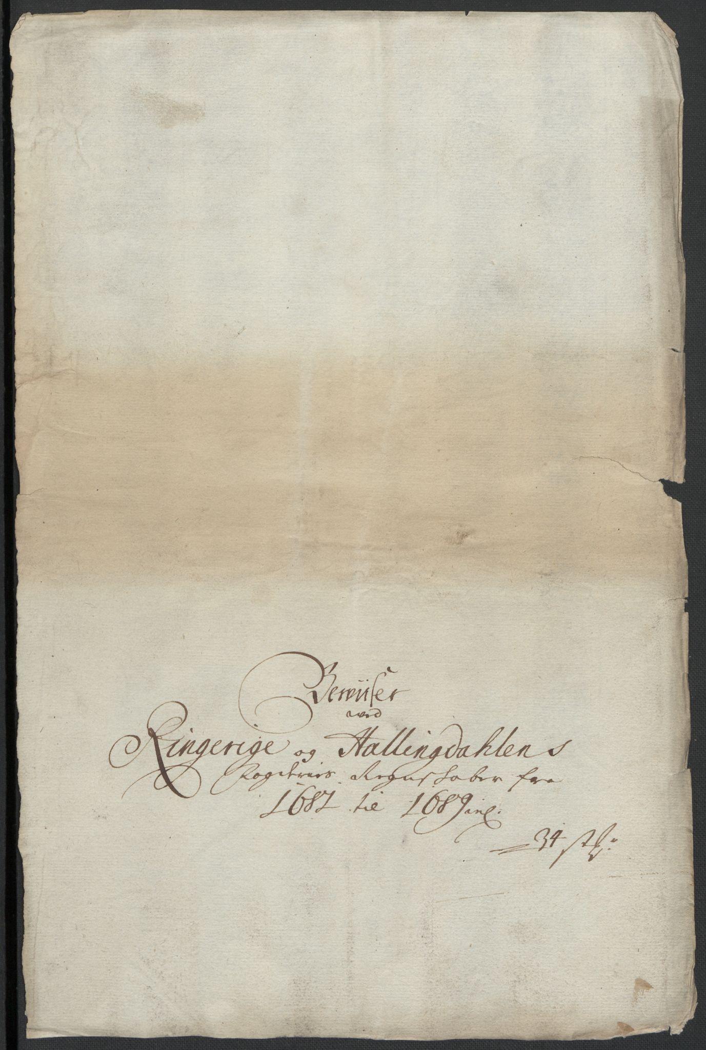 RA, Rentekammeret inntil 1814, Reviderte regnskaper, Fogderegnskap, R21/L1445: Fogderegnskap Ringerike og Hallingdal, 1681-1689, s. 207