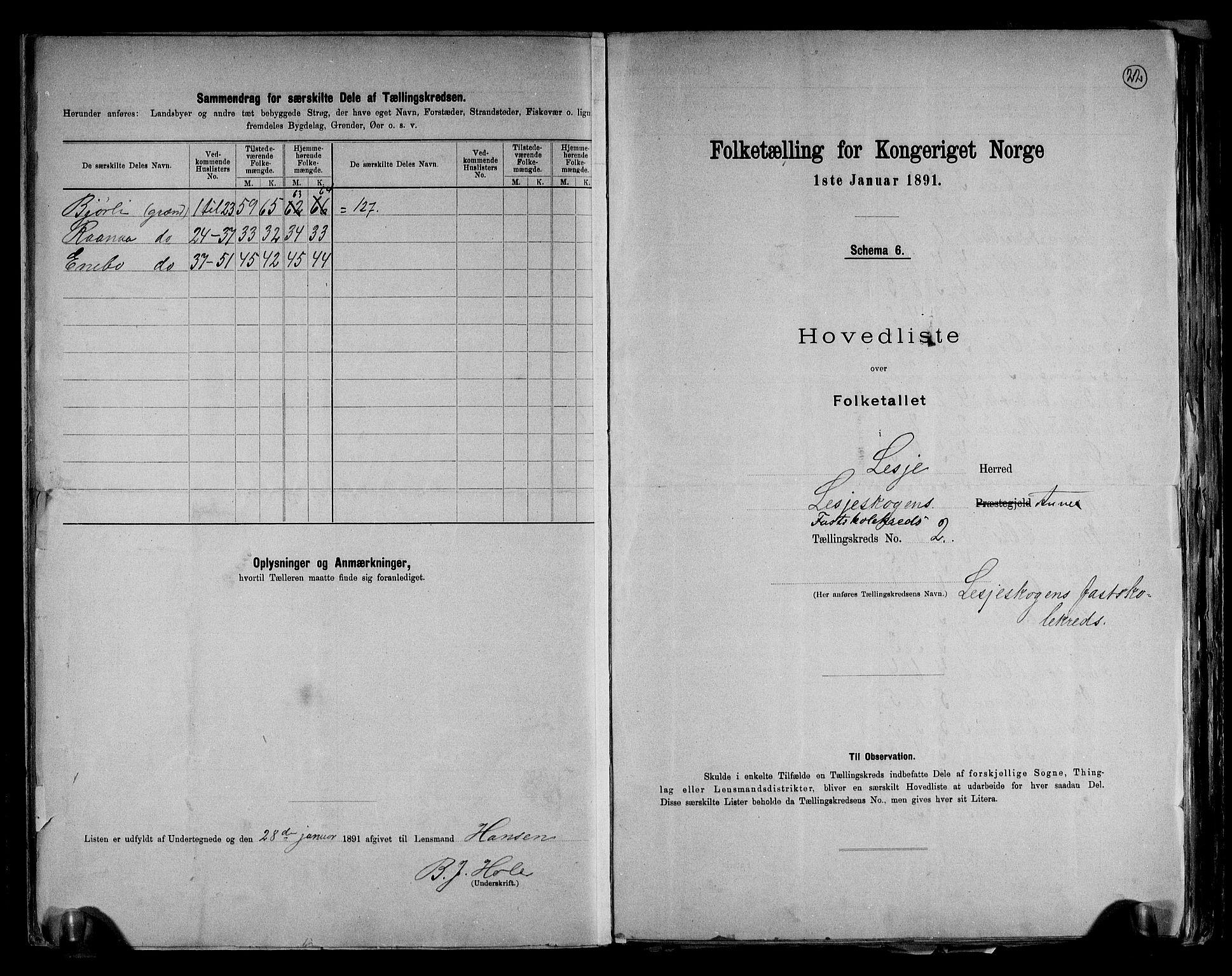 RA, Folketelling 1891 for 0512 Lesja herred, 1891, s. 7