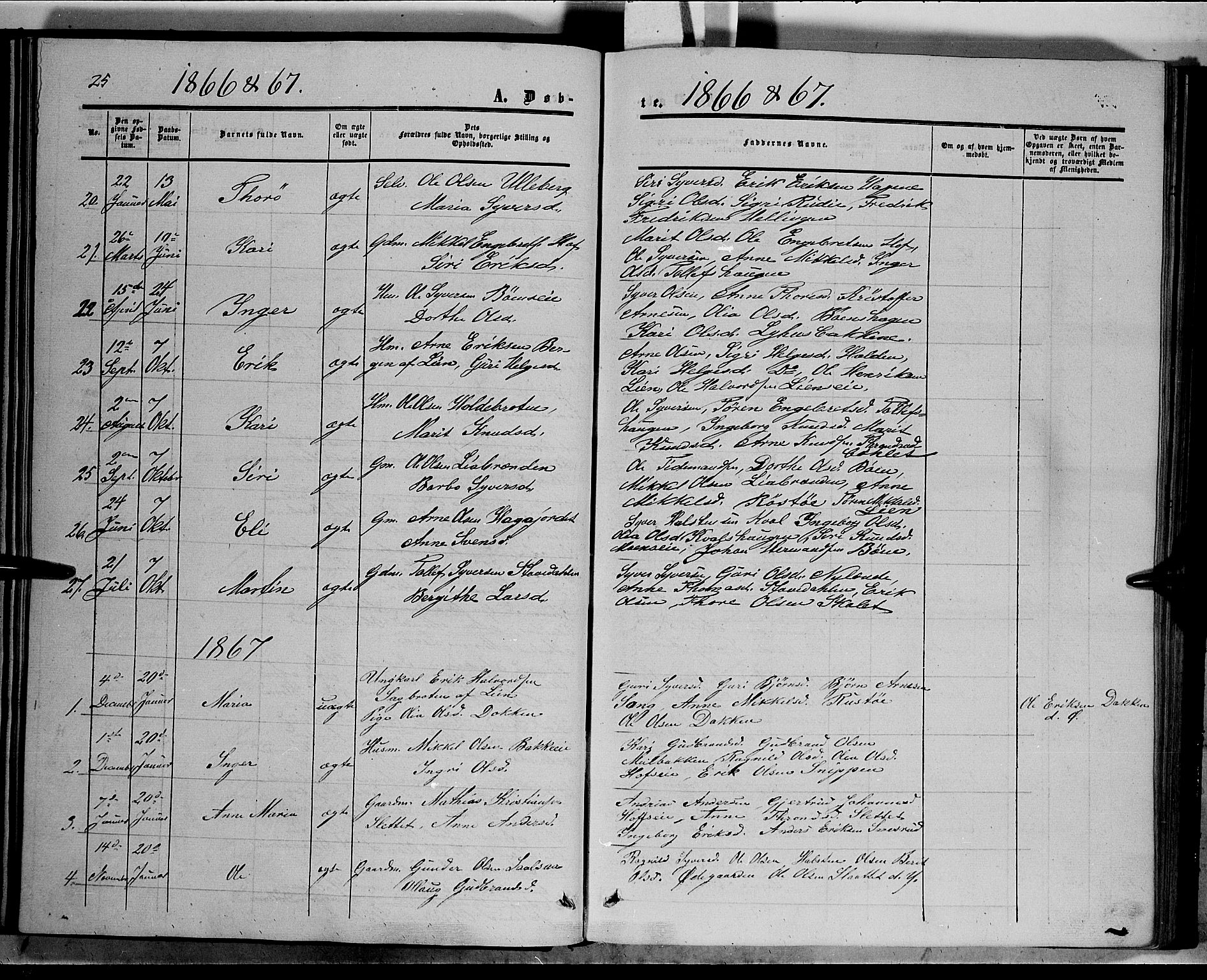 SAH, Sør-Aurdal prestekontor, Ministerialbok nr. 6, 1849-1876, s. 25
