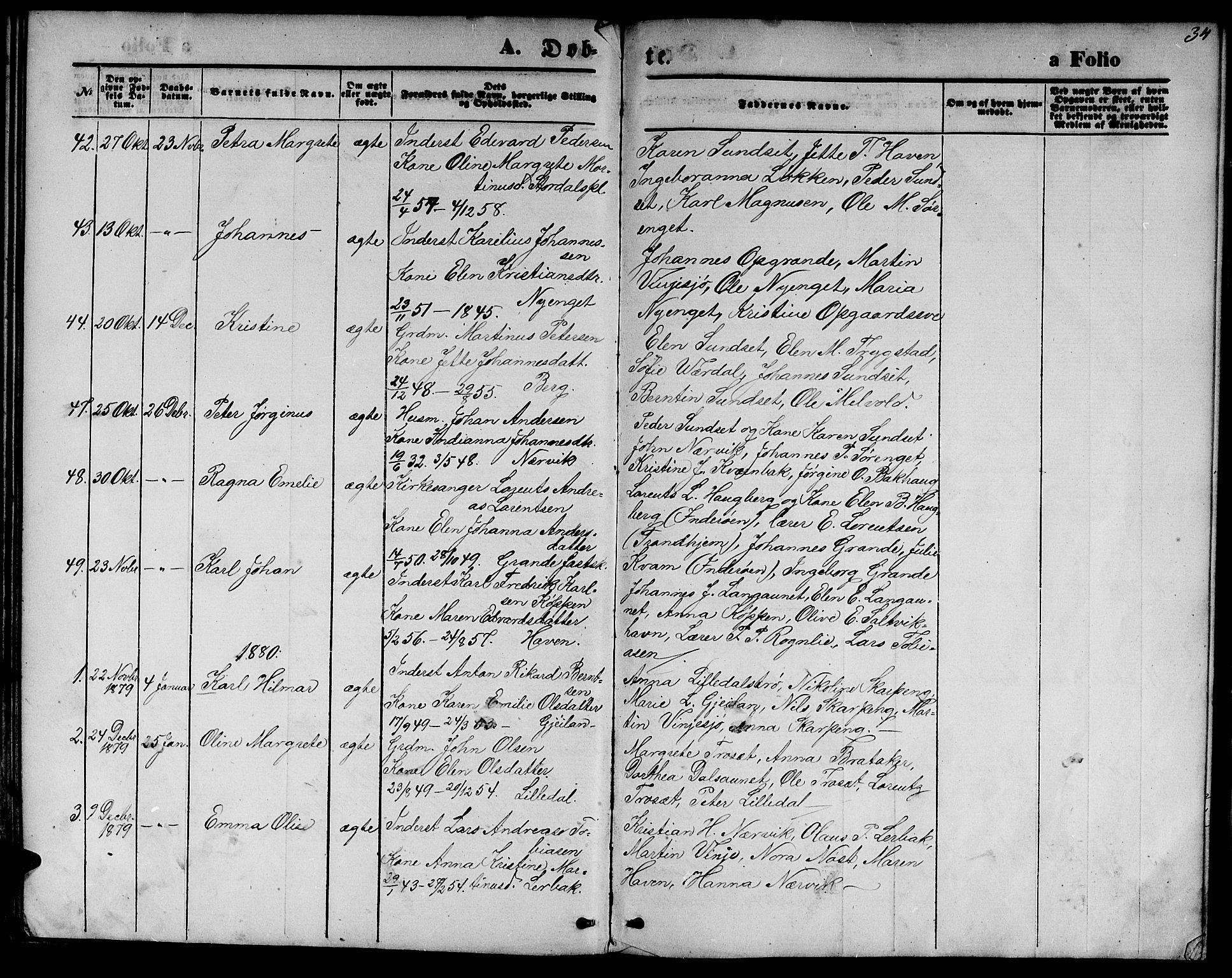 SAT, Ministerialprotokoller, klokkerbøker og fødselsregistre - Nord-Trøndelag, 733/L0326: Klokkerbok nr. 733C01, 1871-1887, s. 34