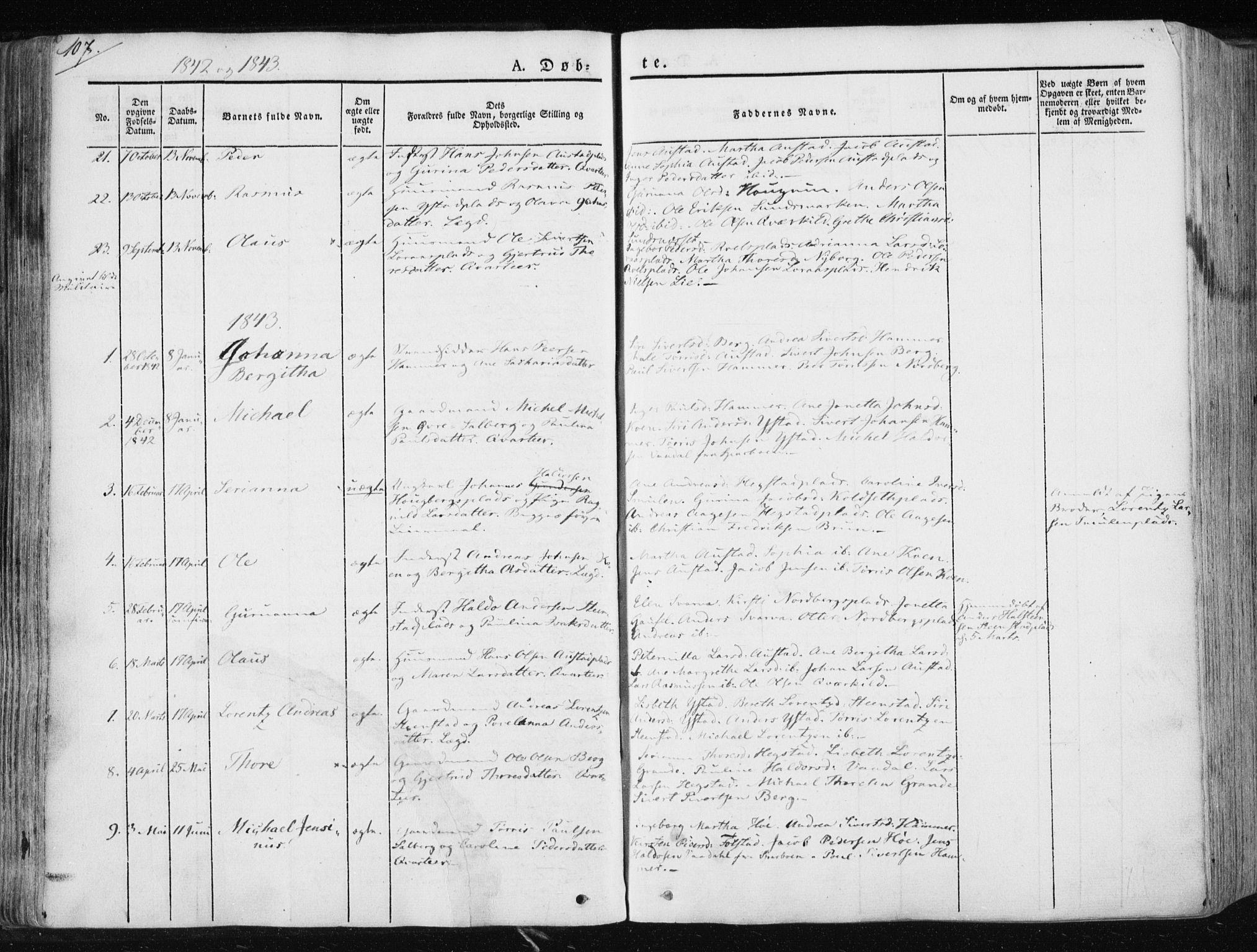 SAT, Ministerialprotokoller, klokkerbøker og fødselsregistre - Nord-Trøndelag, 730/L0280: Ministerialbok nr. 730A07 /2, 1840-1854, s. 107