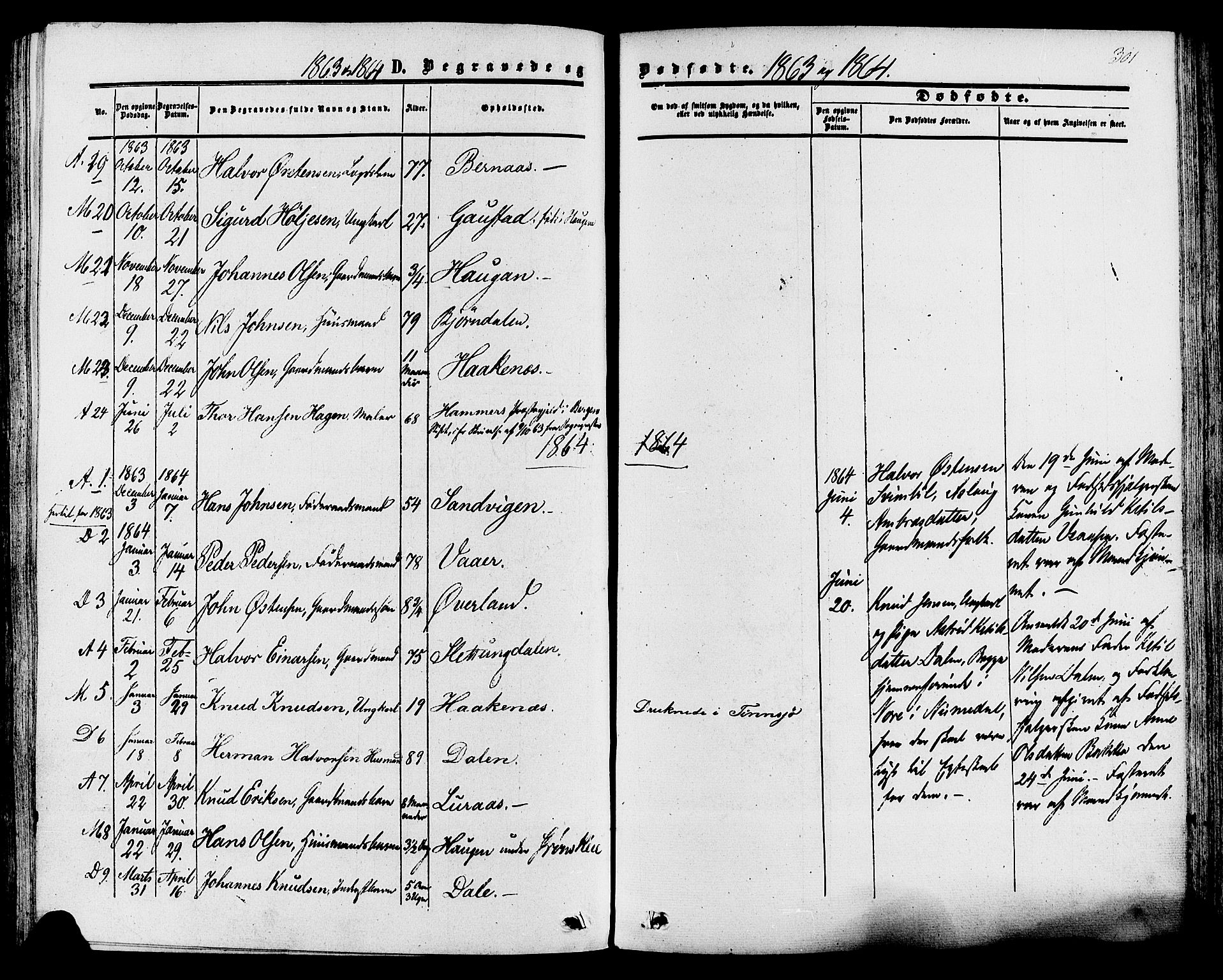 SAKO, Tinn kirkebøker, F/Fa/L0006: Ministerialbok nr. I 6, 1857-1878, s. 301
