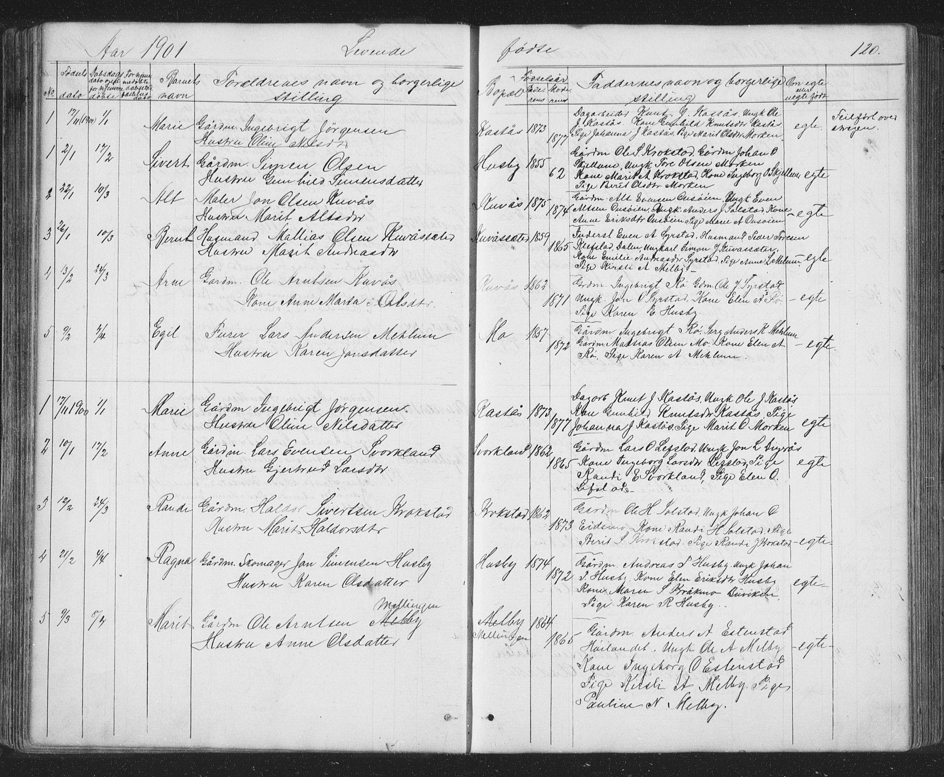 SAT, Ministerialprotokoller, klokkerbøker og fødselsregistre - Sør-Trøndelag, 667/L0798: Klokkerbok nr. 667C03, 1867-1929, s. 120