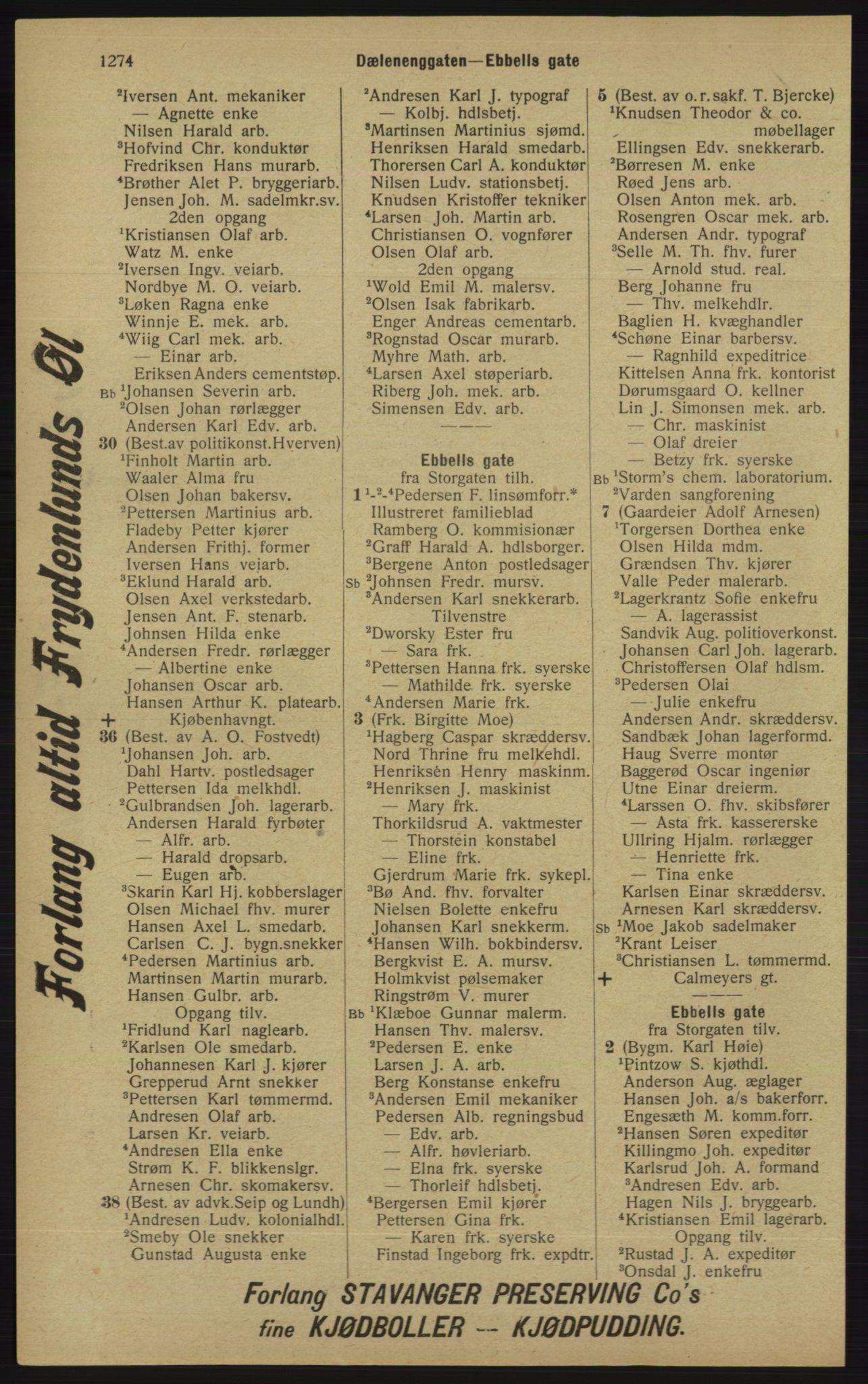 RA, Kristiania adressebok (publikasjon)*, 1913, s. 1274