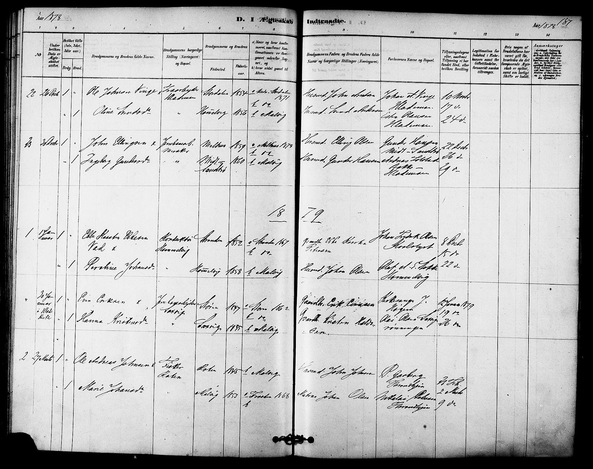 SAT, Ministerialprotokoller, klokkerbøker og fødselsregistre - Sør-Trøndelag, 616/L0410: Ministerialbok nr. 616A07, 1878-1893, s. 187