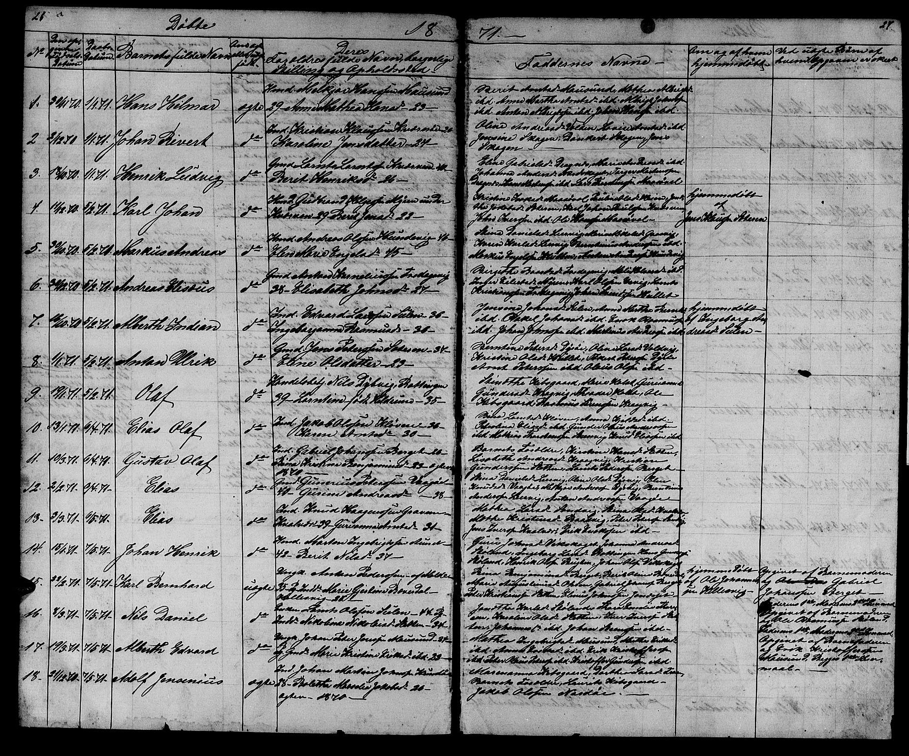 SAT, Ministerialprotokoller, klokkerbøker og fødselsregistre - Sør-Trøndelag, 640/L0583: Klokkerbok nr. 640C01, 1866-1877, s. 26-27