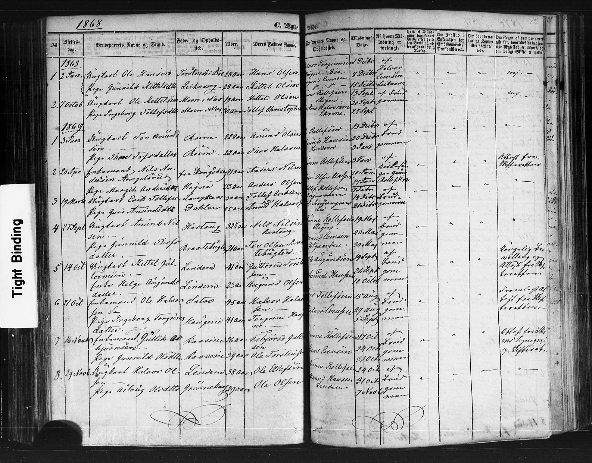 SAKO, Sauherad kirkebøker, F/Fb/L0001: Ministerialbok nr. II 1, 1851-1877, s. 132