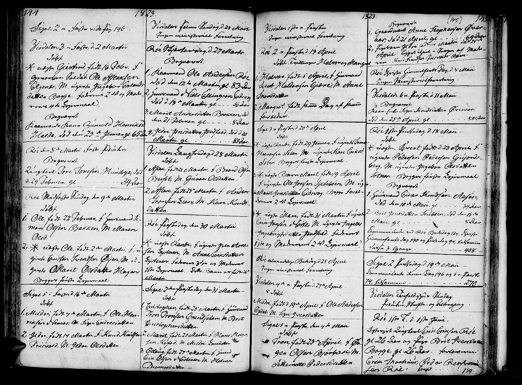 SAT, Ministerialprotokoller, klokkerbøker og fødselsregistre - Møre og Romsdal, 551/L0622: Ministerialbok nr. 551A02, 1804-1845, s. 144-145