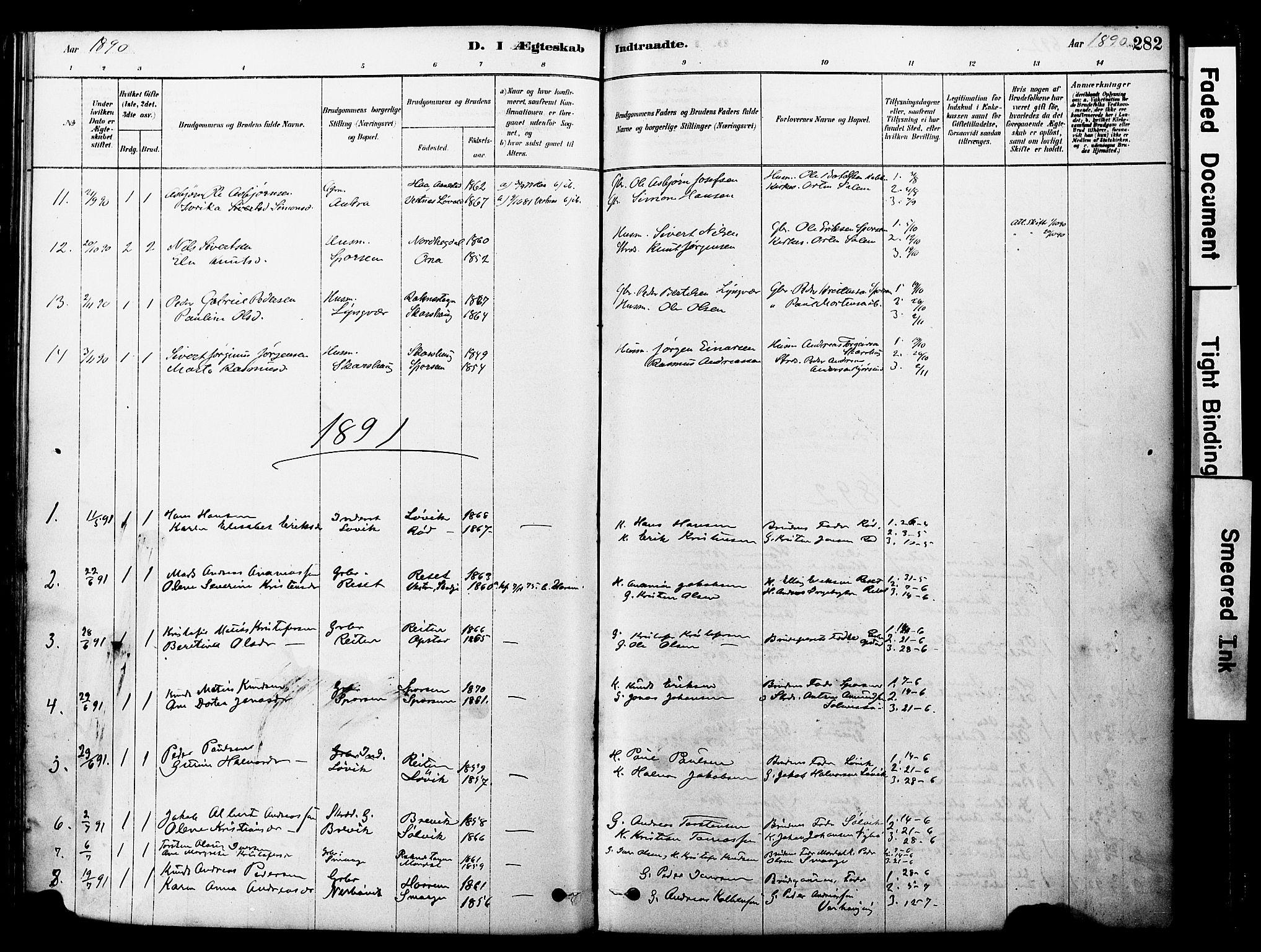 SAT, Ministerialprotokoller, klokkerbøker og fødselsregistre - Møre og Romsdal, 560/L0721: Ministerialbok nr. 560A05, 1878-1917, s. 282