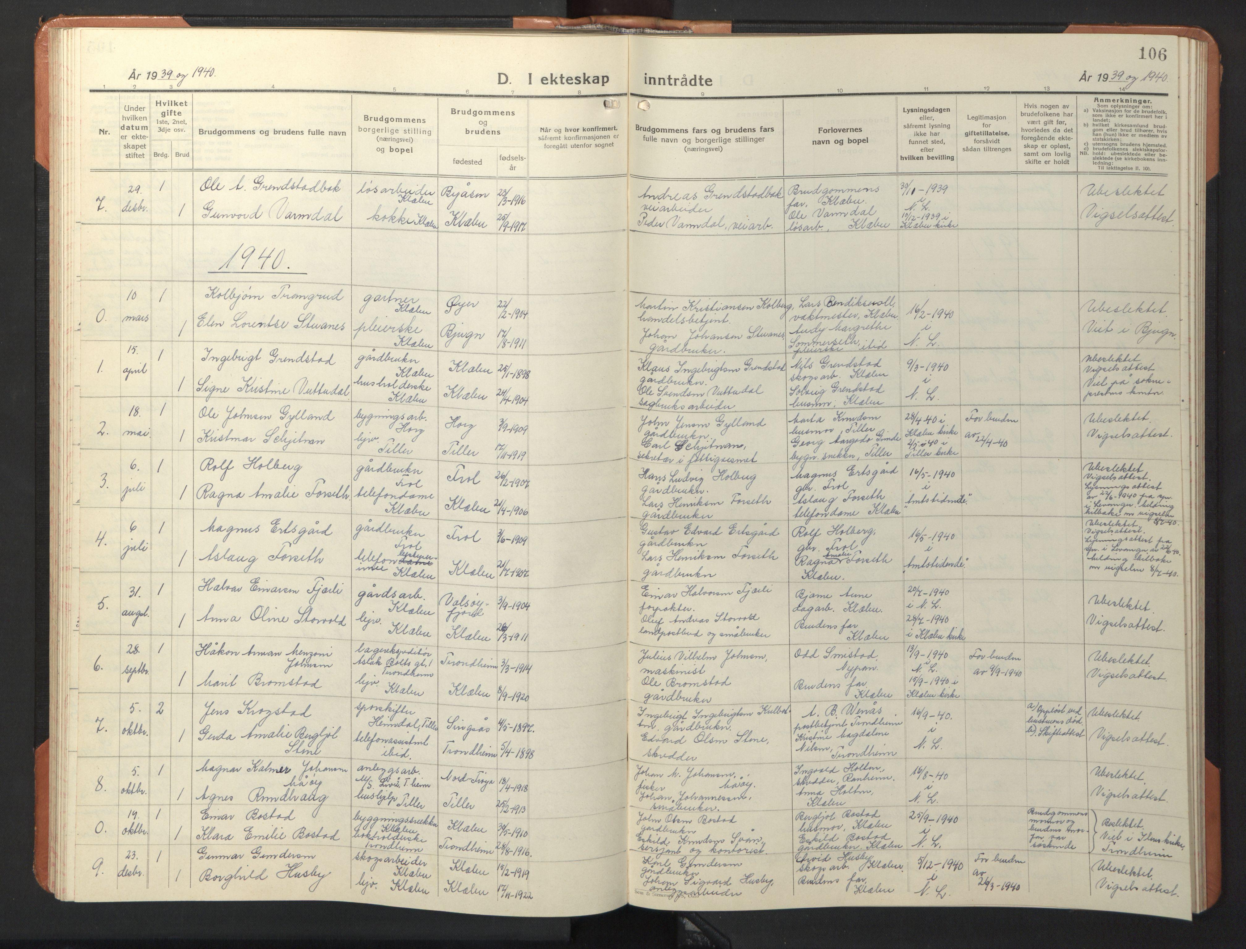 SAT, Ministerialprotokoller, klokkerbøker og fødselsregistre - Sør-Trøndelag, 618/L0454: Klokkerbok nr. 618C05, 1926-1946, s. 106