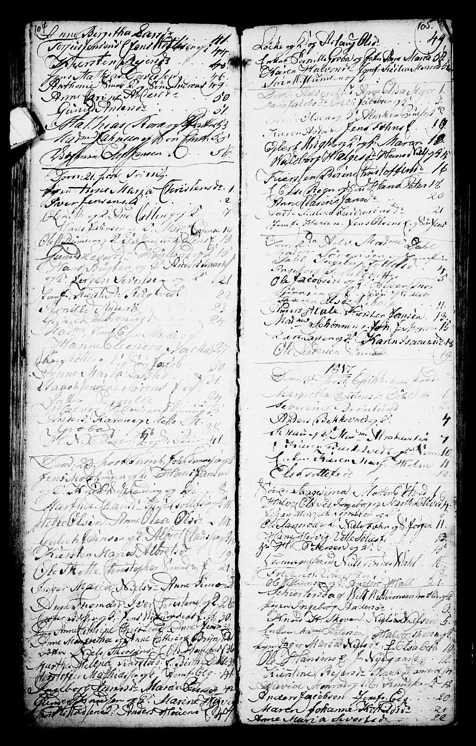 SAKO, Porsgrunn kirkebøker , G/Ga/L0001: Klokkerbok nr. I 1, 1766-1790, s. 104-105