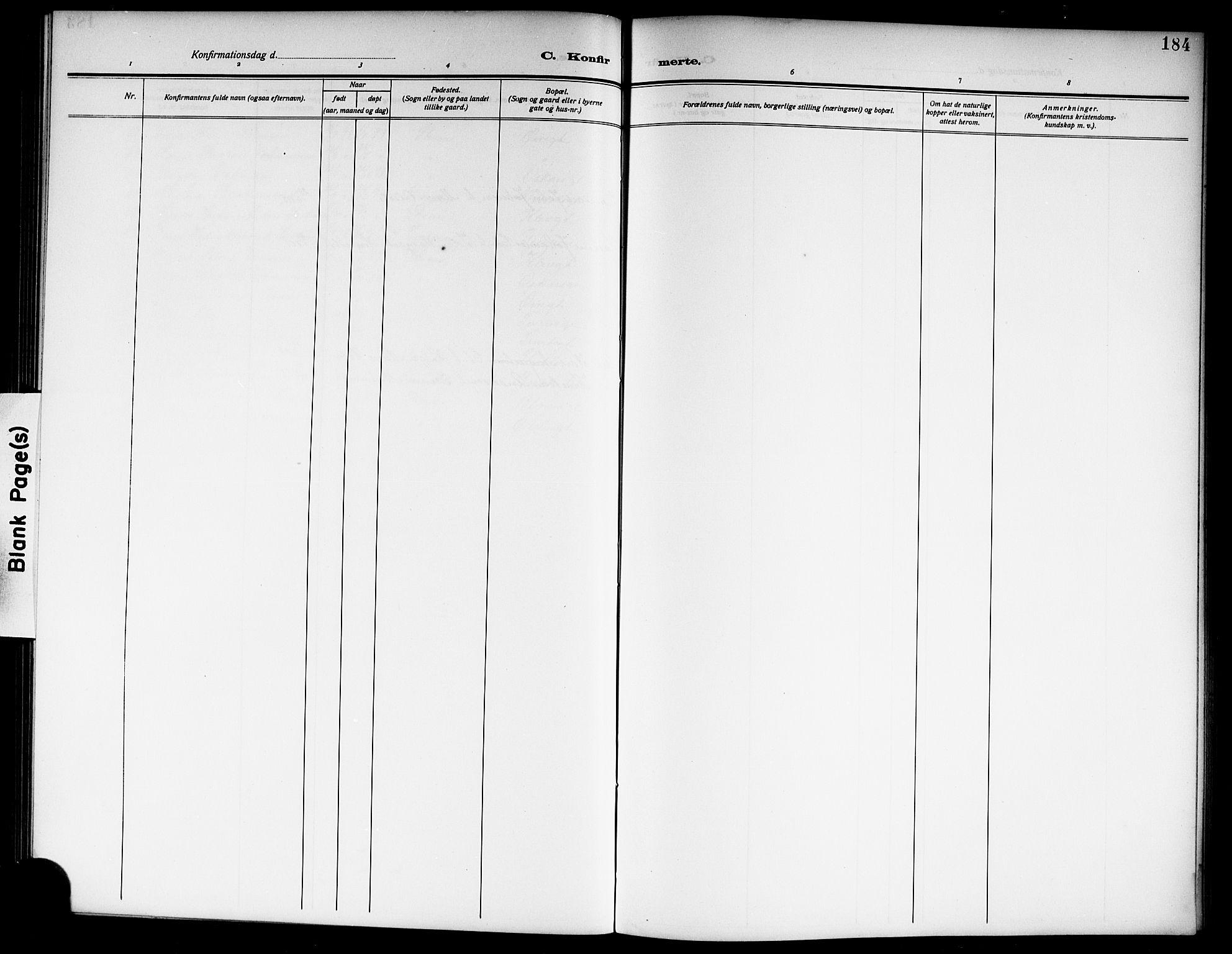 SAKO, Skien kirkebøker, G/Ga/L0009: Klokkerbok nr. 9, 1910-1920, s. 184