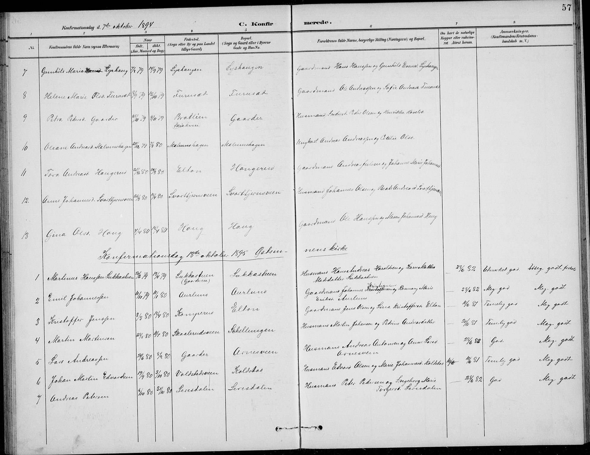 SAH, Nordre Land prestekontor, Klokkerbok nr. 14, 1891-1907, s. 57