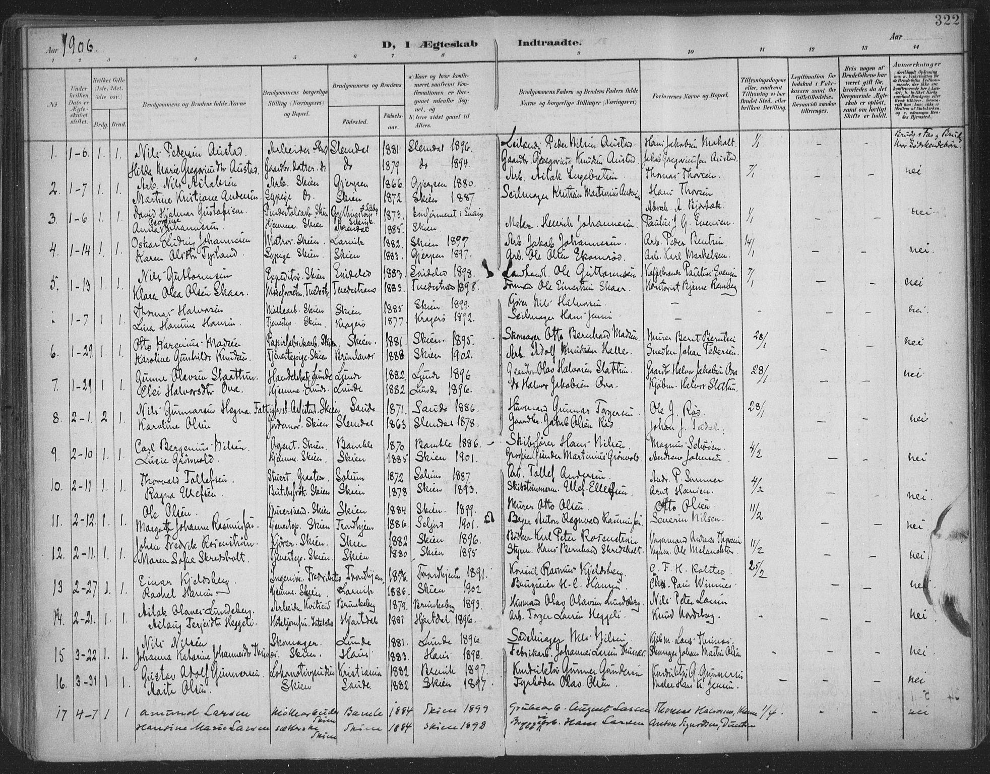 SAKO, Skien kirkebøker, F/Fa/L0011: Ministerialbok nr. 11, 1900-1907, s. 322